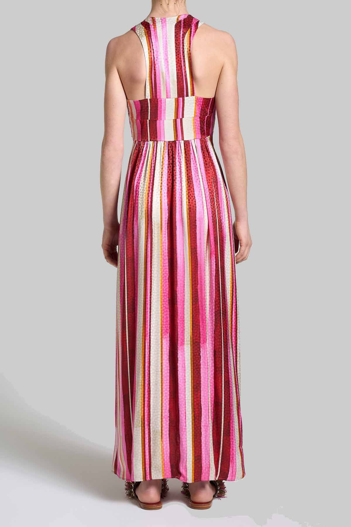Women's Clothing Long Sleeveless Dress Stripes Jacquard with Pink and Red Pattern Maliparmi |  | JF642150557B3223