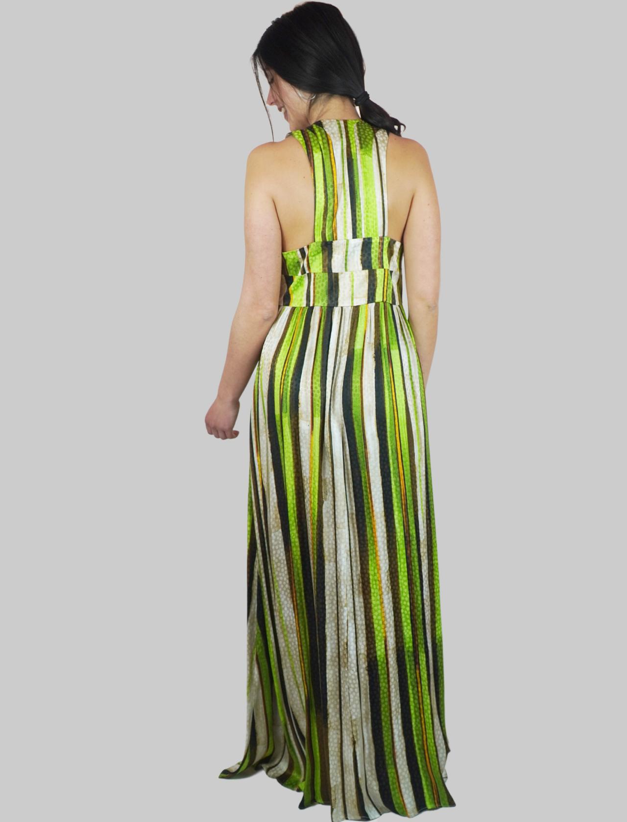 Abbigliamento Donna Abito Lungo Senza Maniche Stripes Jacquard a Fantasia Verde e Naturale Maliparmi   Abiti   JF642150557C6022