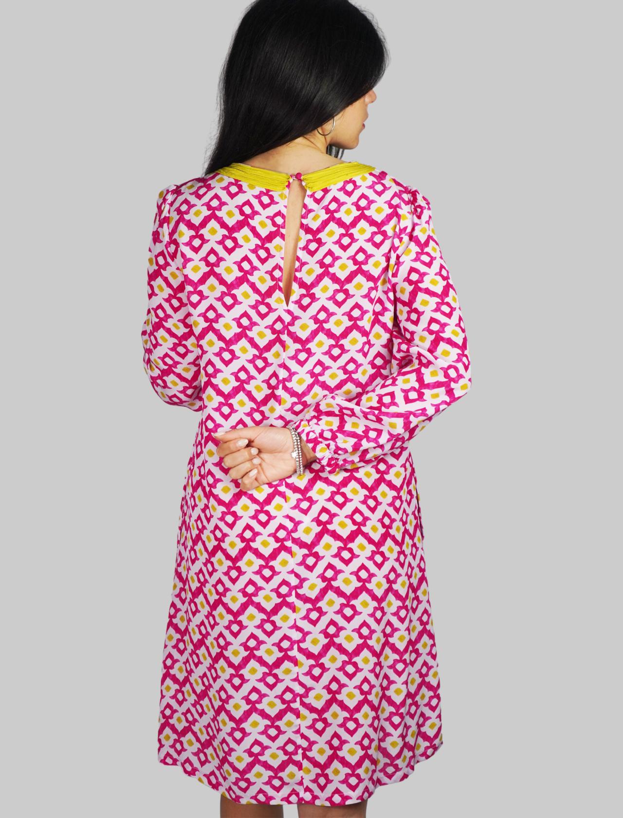 Abbigliamento Donna Abito Midi Vis Ceres Diamond a Fantasia Rosa con Scollo Merletti Maliparmi   Abiti   JF643150552B3218