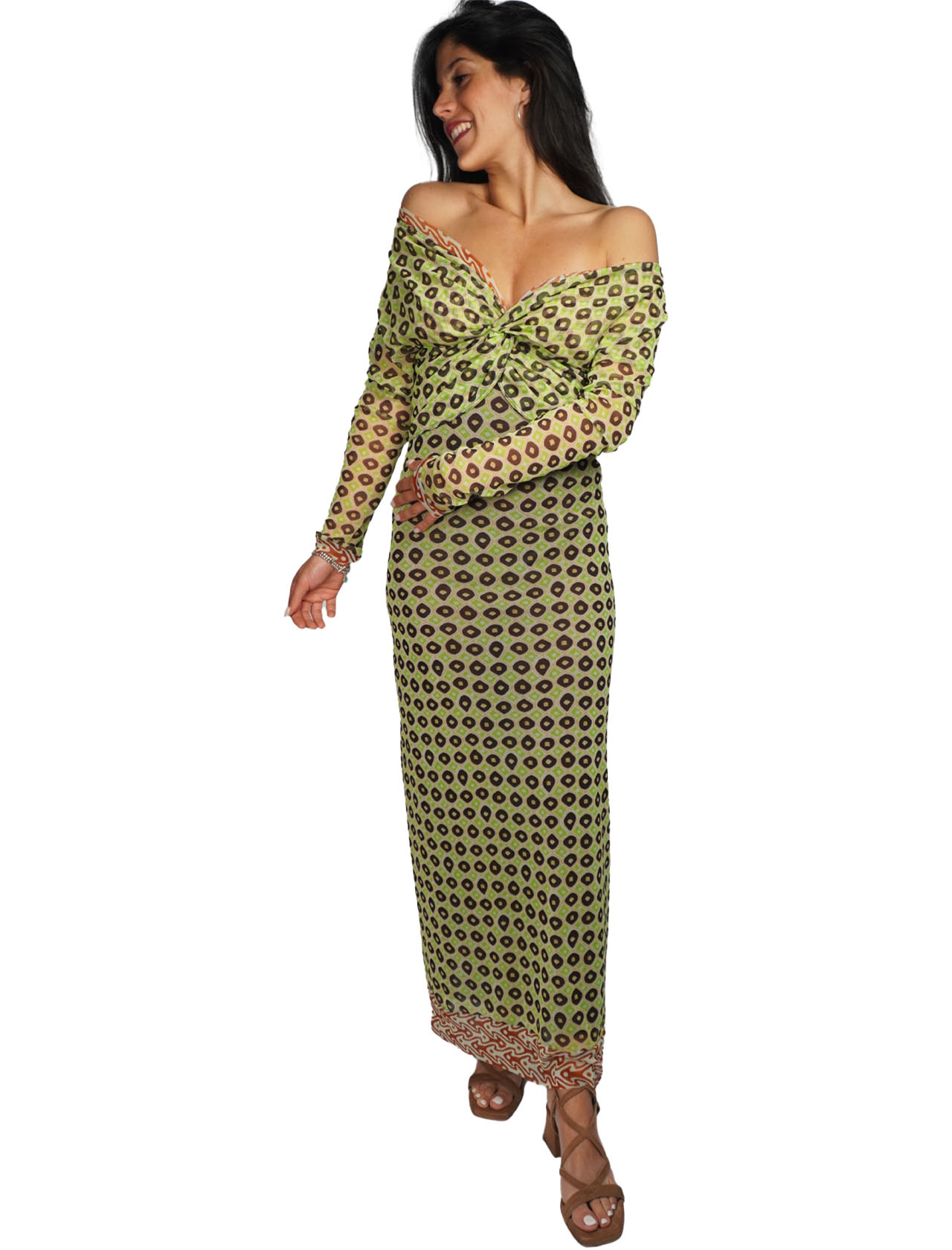 Women's Clothing Long Tribal Dance Dress in Green and Gold Patterned Tulle Maliparmi | Dresses | JF643570494C6020