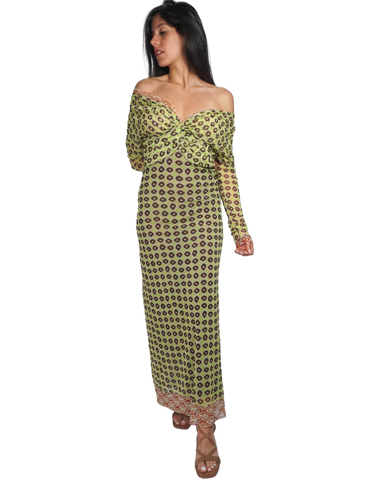 Abbigliamento Donna AbitoLungo Ttribal Dance in Tulle a Fantasia Verde e Oro Maliparmi   Abiti   JF643570494C6020