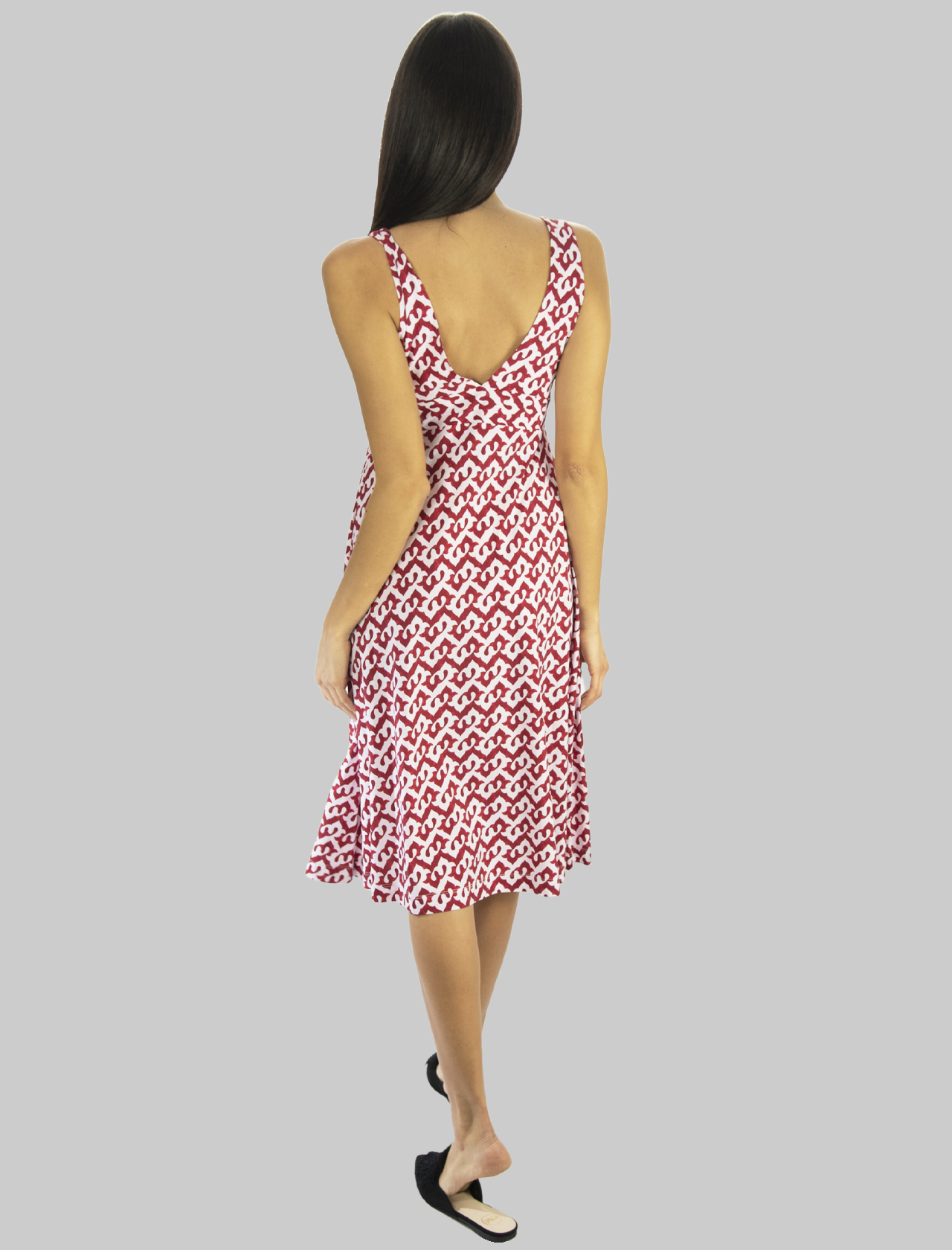 Women's Clothing Midi Ceres Drop Dress in Jersey in Red and Pink Maliparmi |  | JF643870498A3092