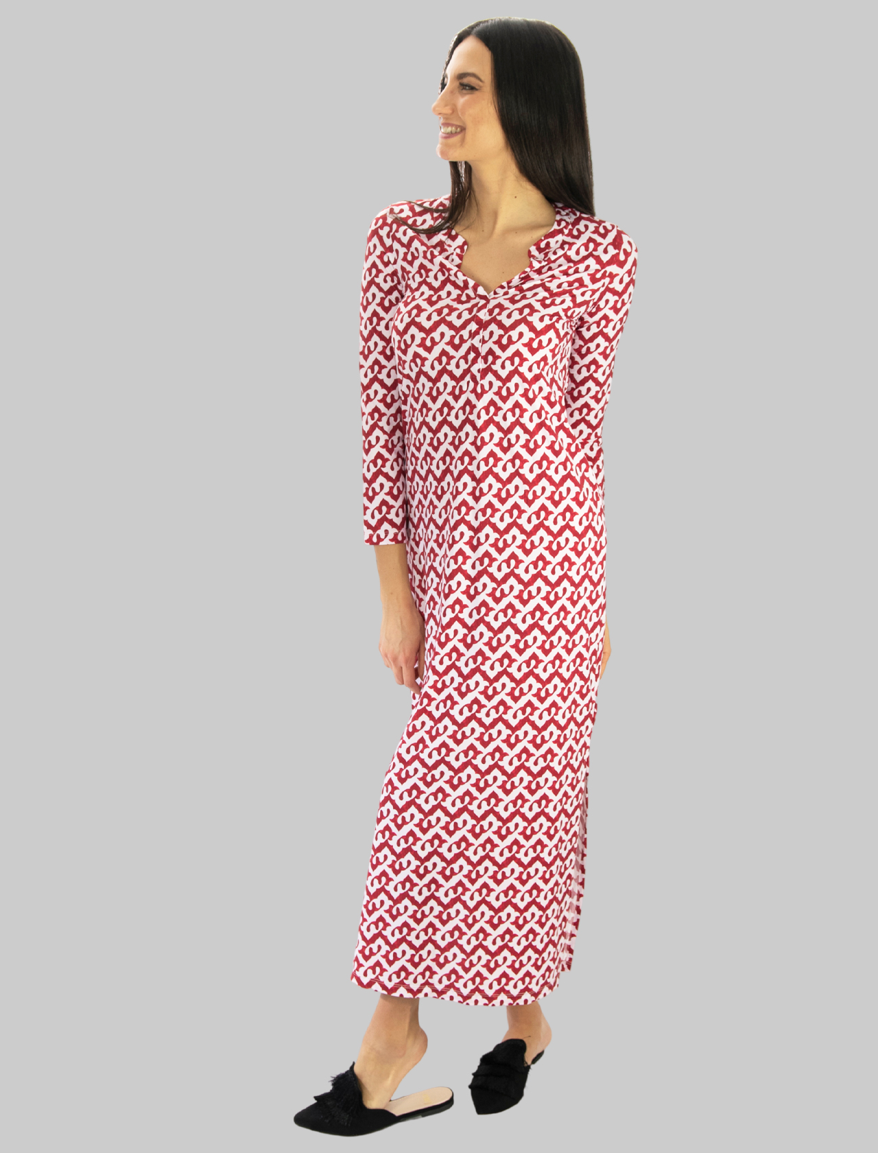 Abbigliamento Donna Caftano Lungo Ceres Drop Jersey in Rosso e Rosa Maliparmi | Abiti | JF643970498A3092