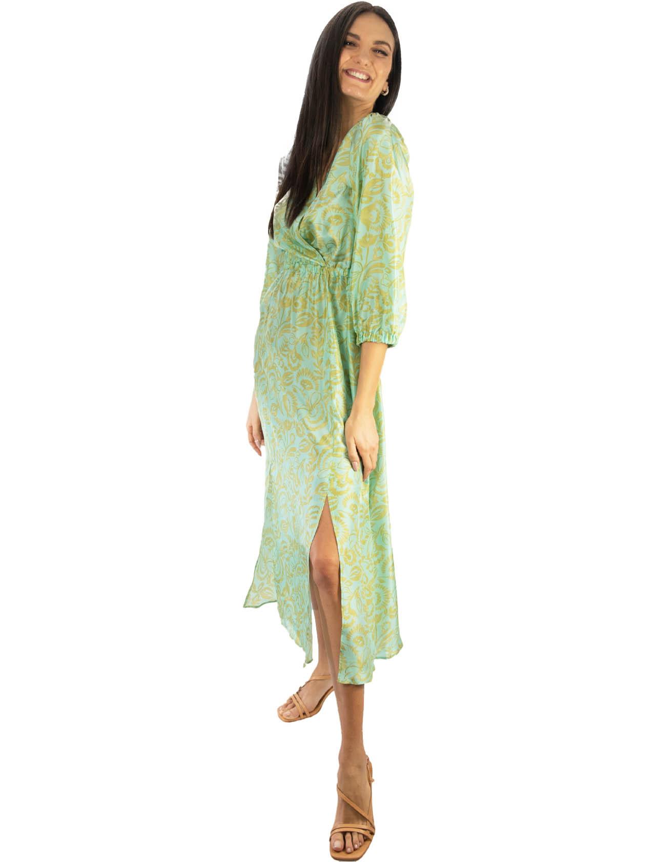 Women's Clothing Long Dress in Turkish Delight Silk Aqua and Gold Maliparmi |  | JF645830111C6018