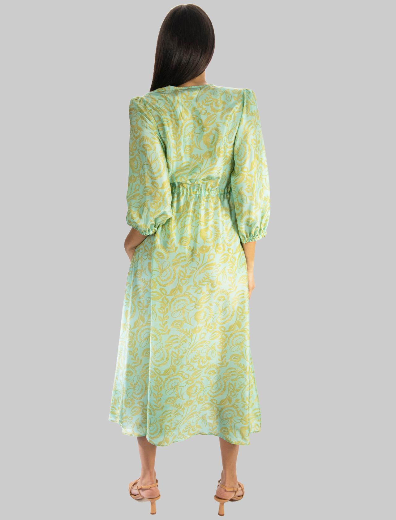 Abbigliamento Donna Abito Lungo in Seta Turkish Delight Silk Acqua e Oro Maliparmi | Abiti | JF645830111C6018