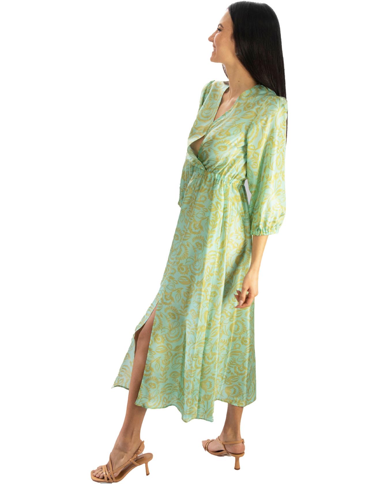 Women's Clothing Long Dress in Turkish Delight Silk Aqua and Gold Maliparmi   Dresses   JF645830111C6018
