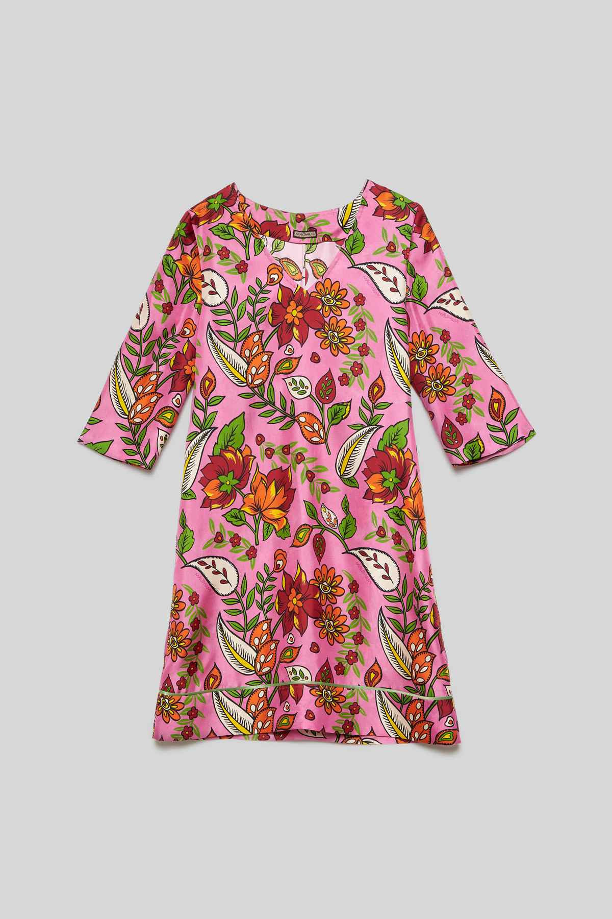 Women's Clothing Midi Collection Print Silk Dress with Pink Floral Pattern Maliparmi |  | JF645930091B3219