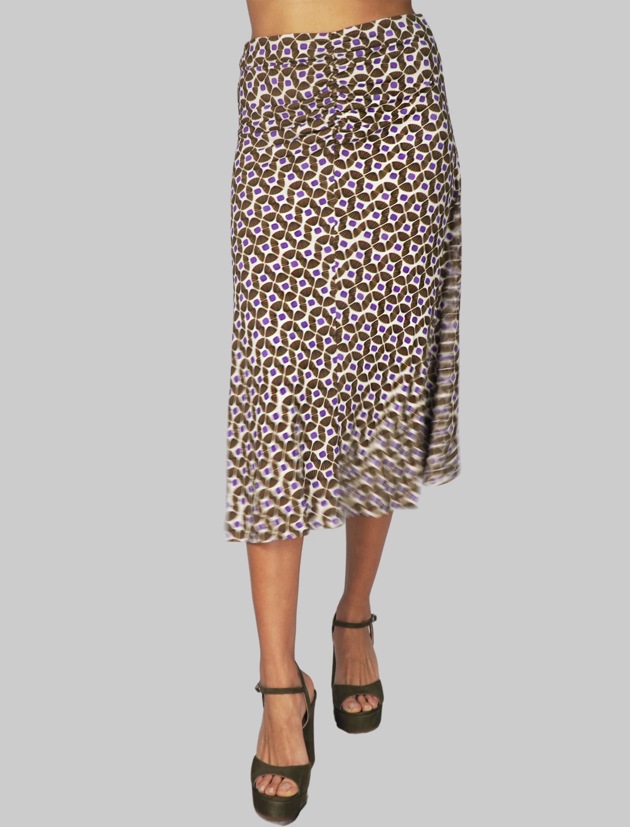 Women's Clothing Beige Printed Happy Frame Jersey Skirt Maliparmi | Skirts and Pants | JG359070493B1104