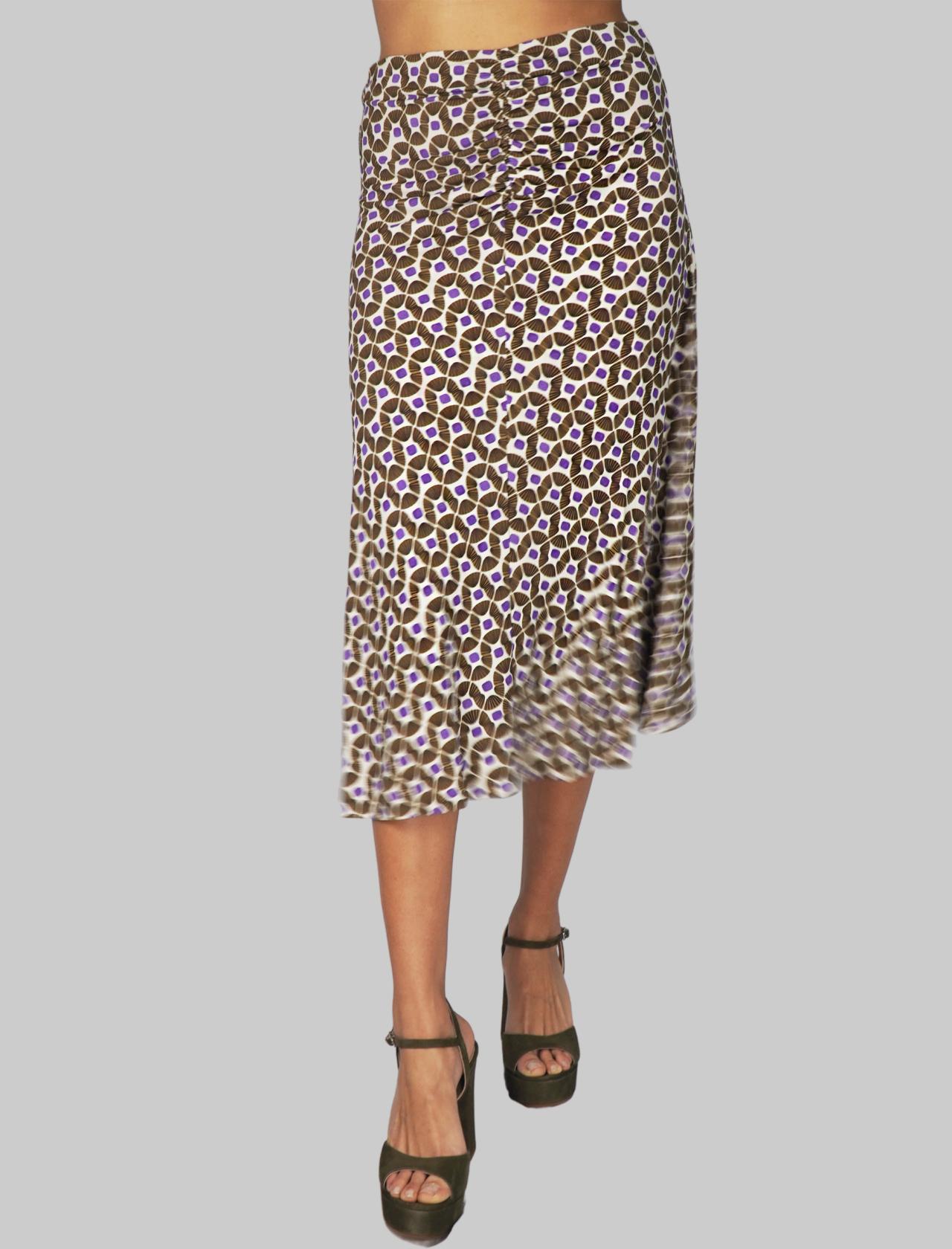 Abbigliamento Donna Gonna Jersey Happy Frame a Fantasia Beige Maliparmi | Gonne e Pantaloni | JG359070493B1104