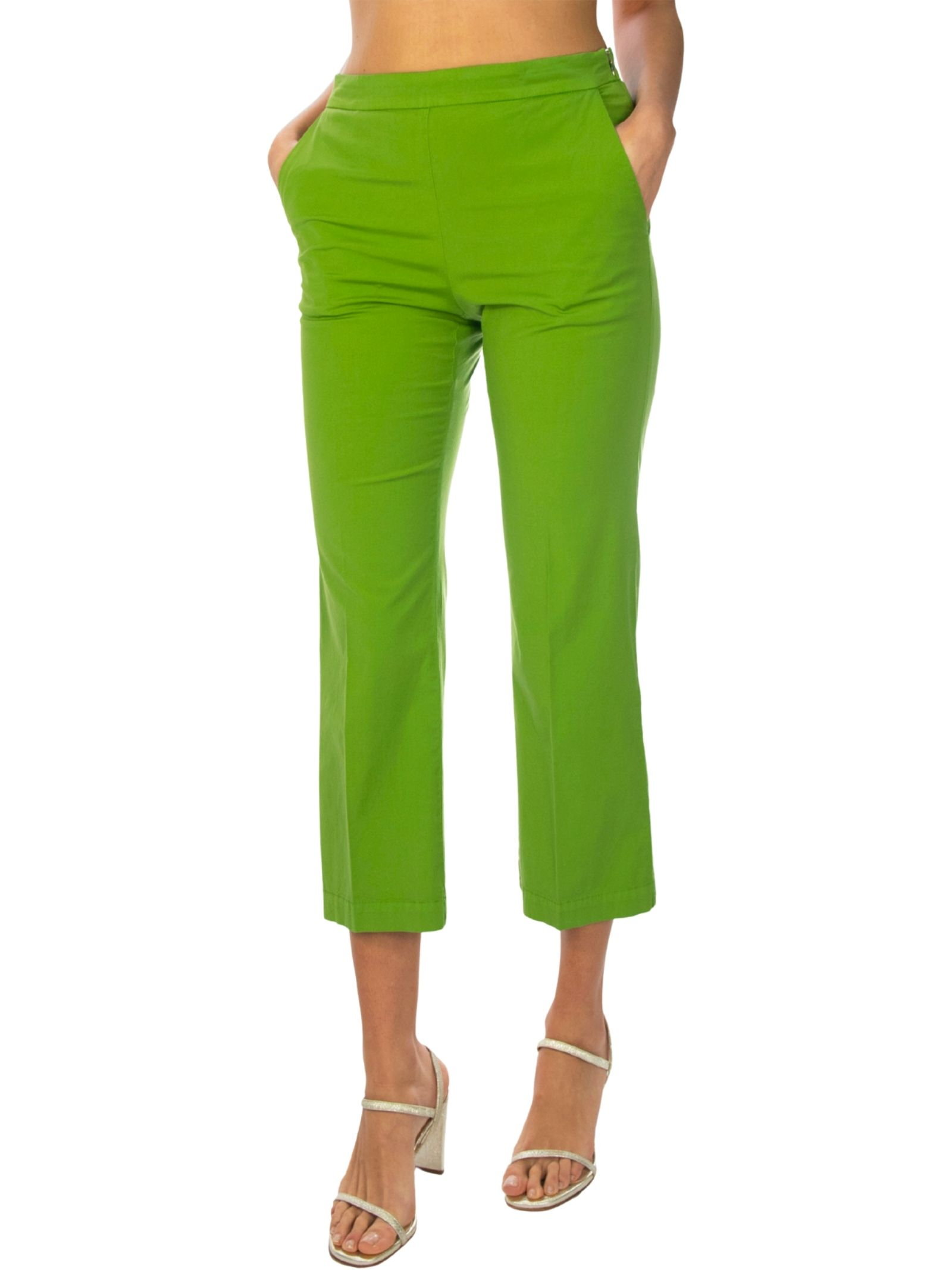 Abbigliamento Donna Pantalone Stretch Satin Cotton Verde Maliparmi | Gonne e Pantaloni | JH71441013760131