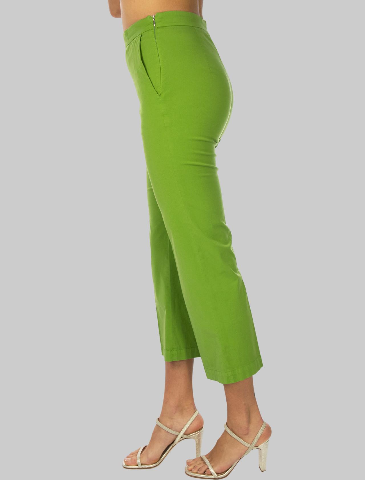 Women's Clothing Stretch Satin Cotton Pants Green Maliparmi | Skirts and Pants | JH71441013760131
