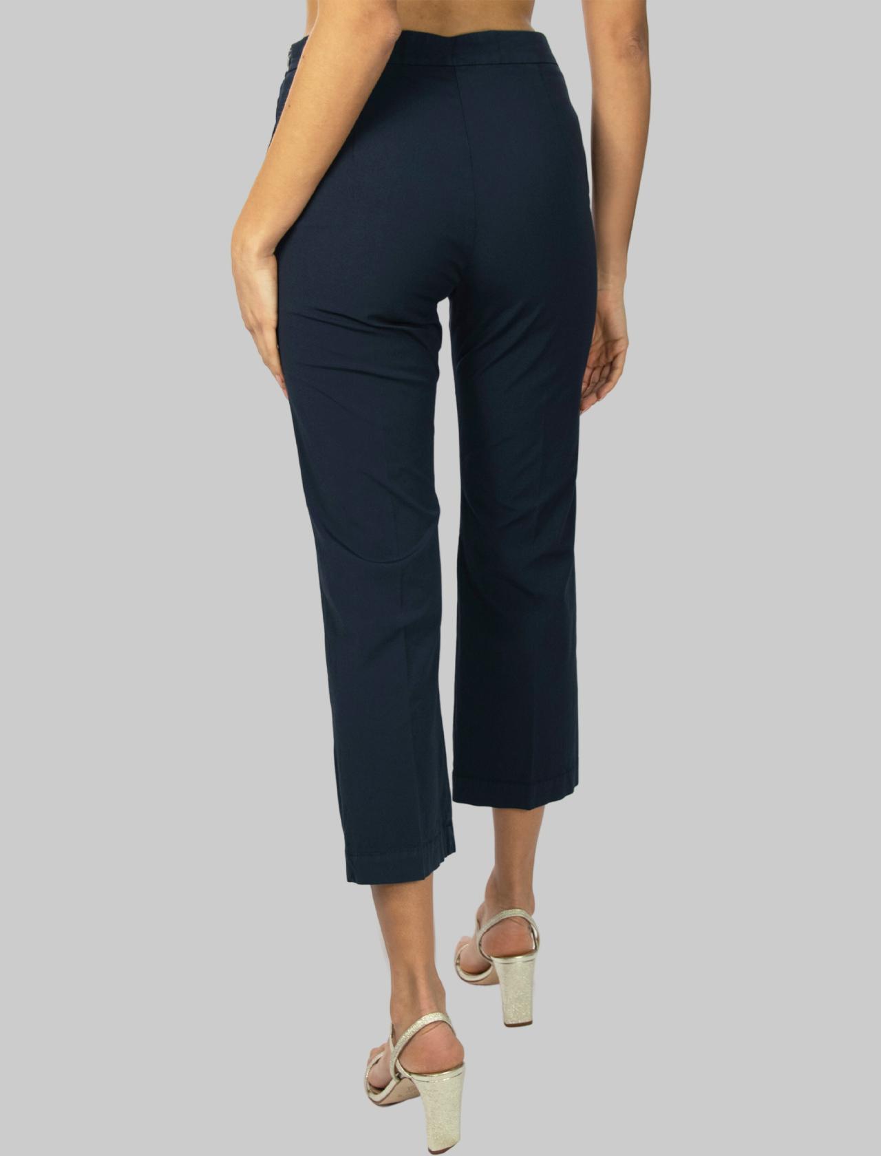 Women's Clothing Stretch Satin Cotton Pants Navy Blue Maliparmi | Skirts and Pants | JH71441013780000