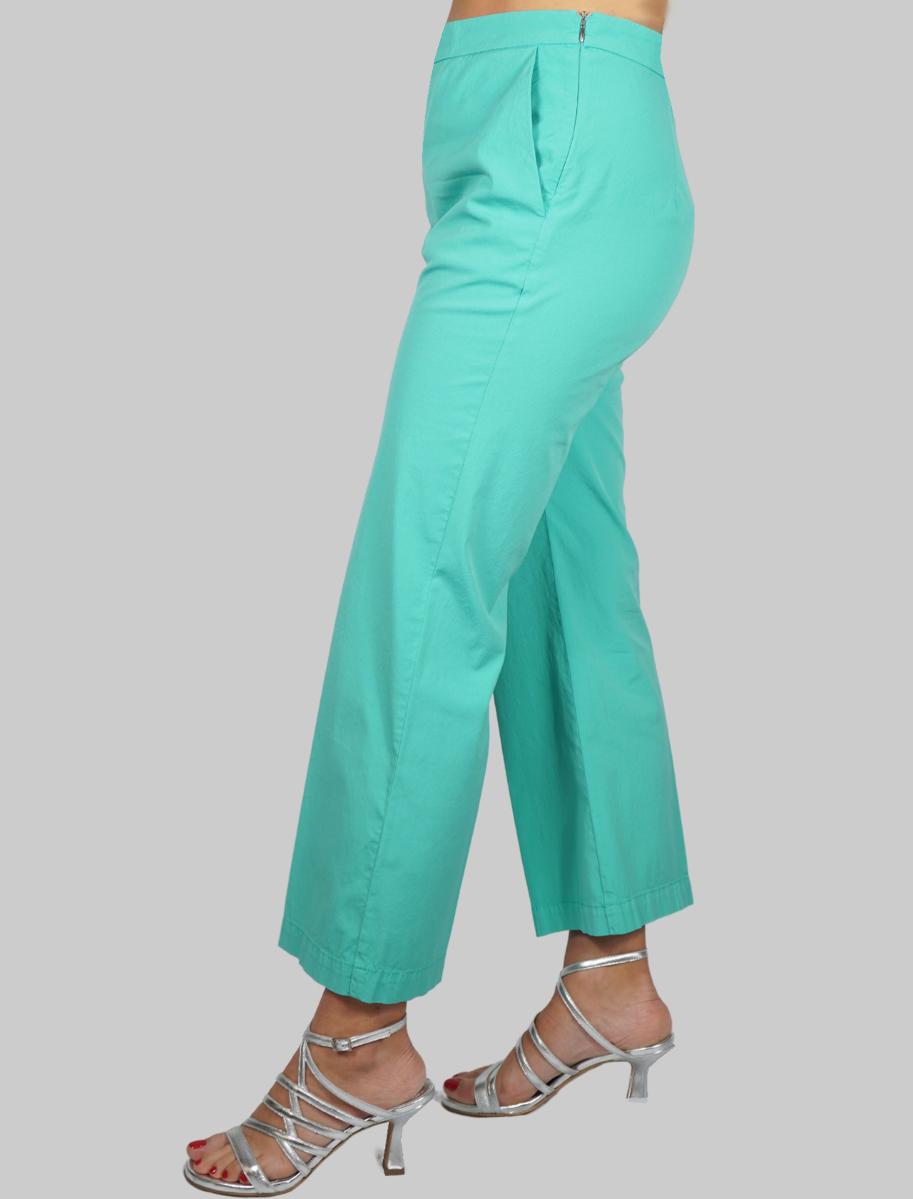Women's Clothing Stretch Satin Cotton Turquoise Trousers Maliparmi | Skirts and Pants | JH71441013782012