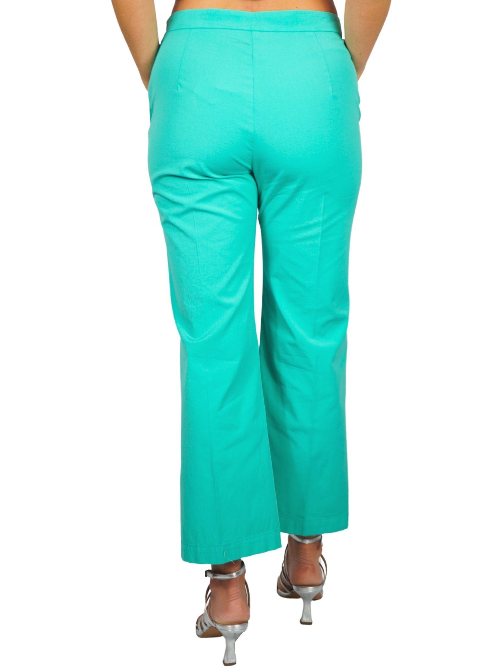 Abbigliamento Donna Pantalone Stretch Satin Cotton Turchese Maliparmi   Gonne e Pantaloni   JH71441013782012