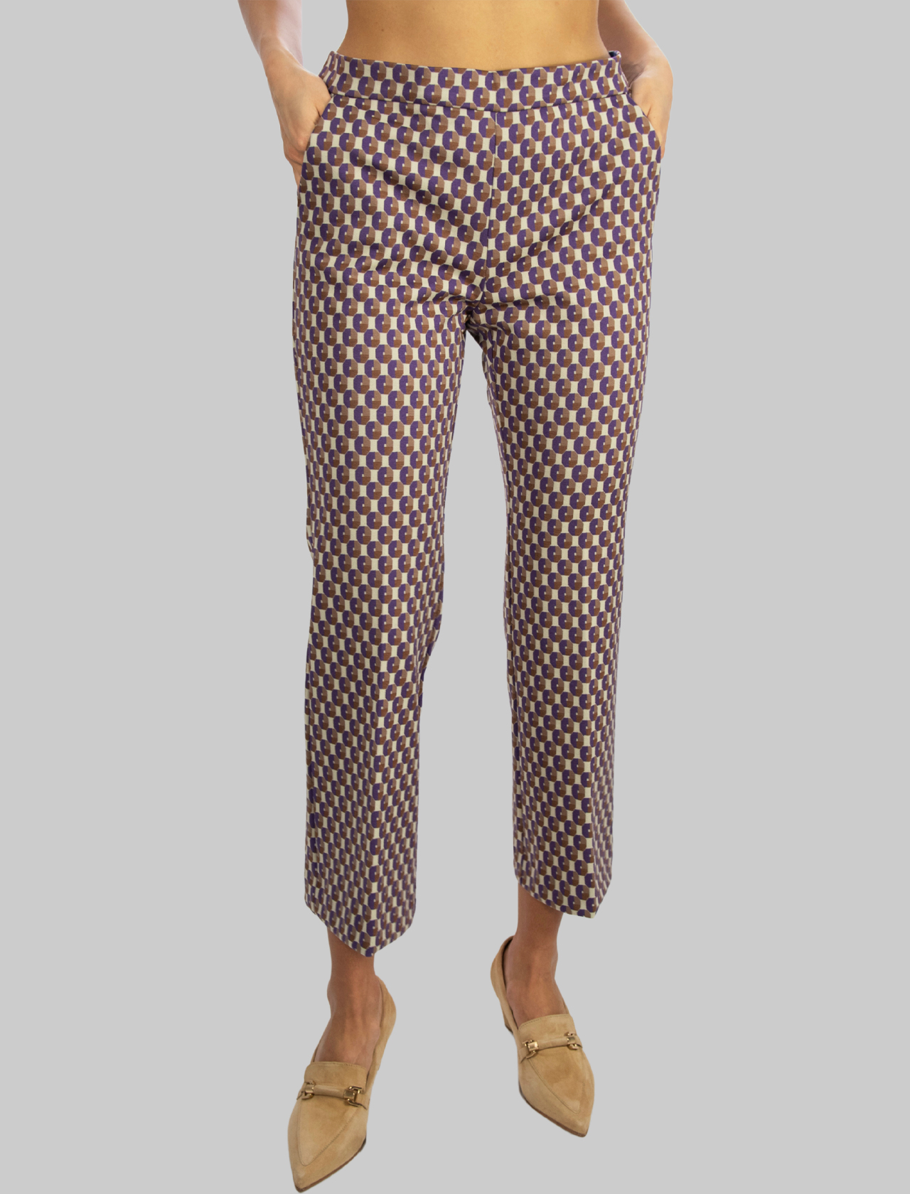 Women's Clothing American Pockets Geometric Jacquard Trousers in Beige and Mauve Maliparmi | Skirts and Pants | JH714460048B1236