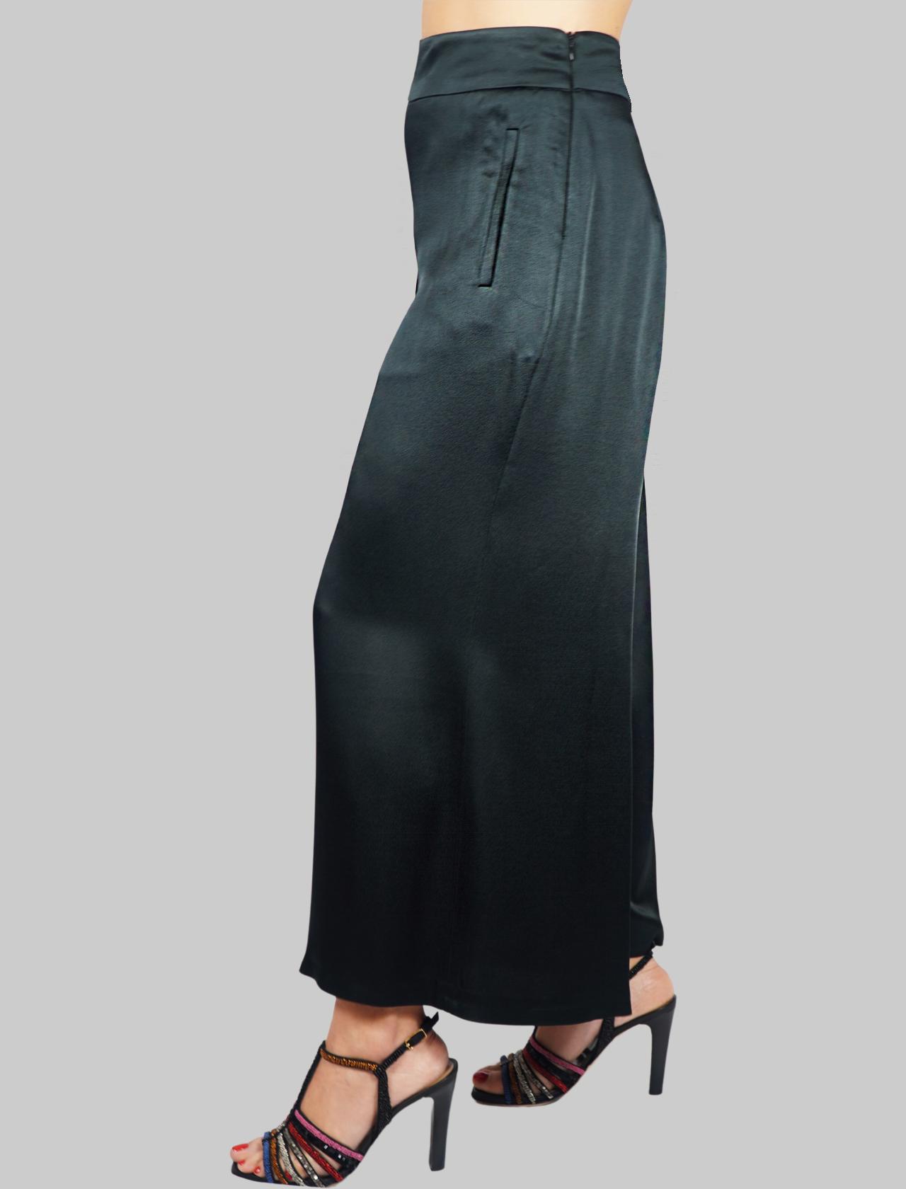 Abbigliamento Donna Pantalone Liquid Cady Nero Gamba Ampia Maliparmi | Gonne e Pantaloni | JH71915012320000