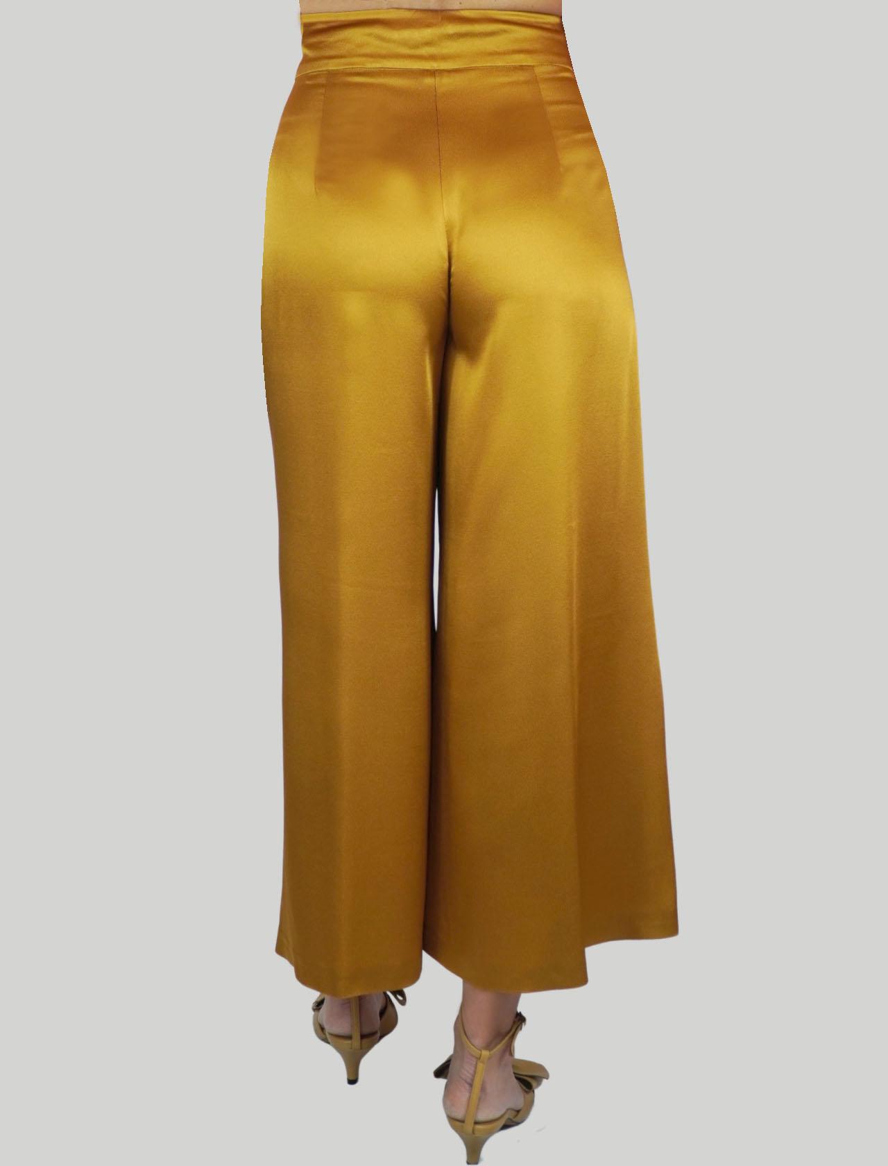 Women's Clothing Liquid Cady Pants Mustard Wide Leg Maliparmi | Skirts and Pants | JH71915012370013