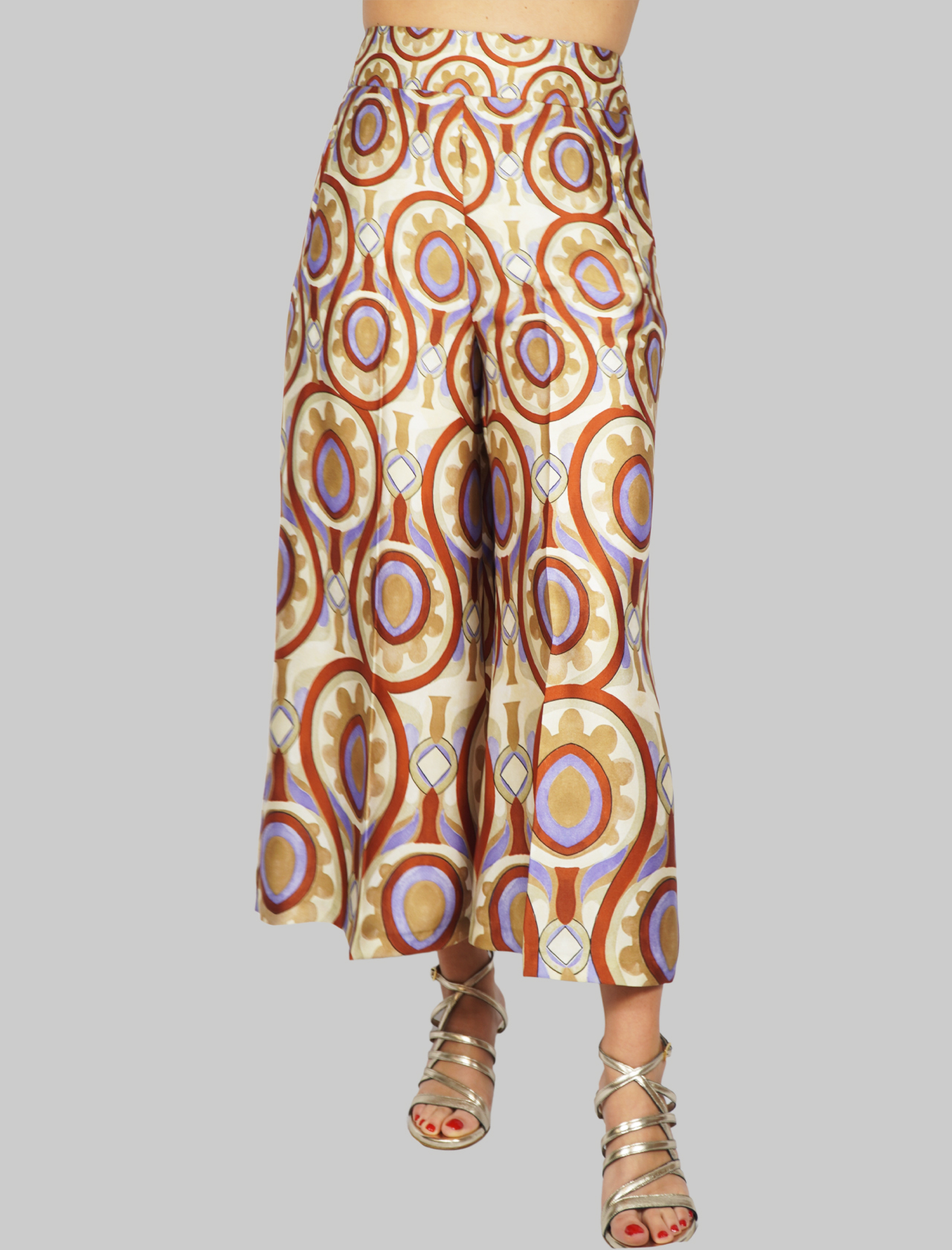 Women's Clothing Ottoman Twill Trousers with Beige and Mauve Pattern Maliparmi | Skirts and Pants | JH719160046B1229