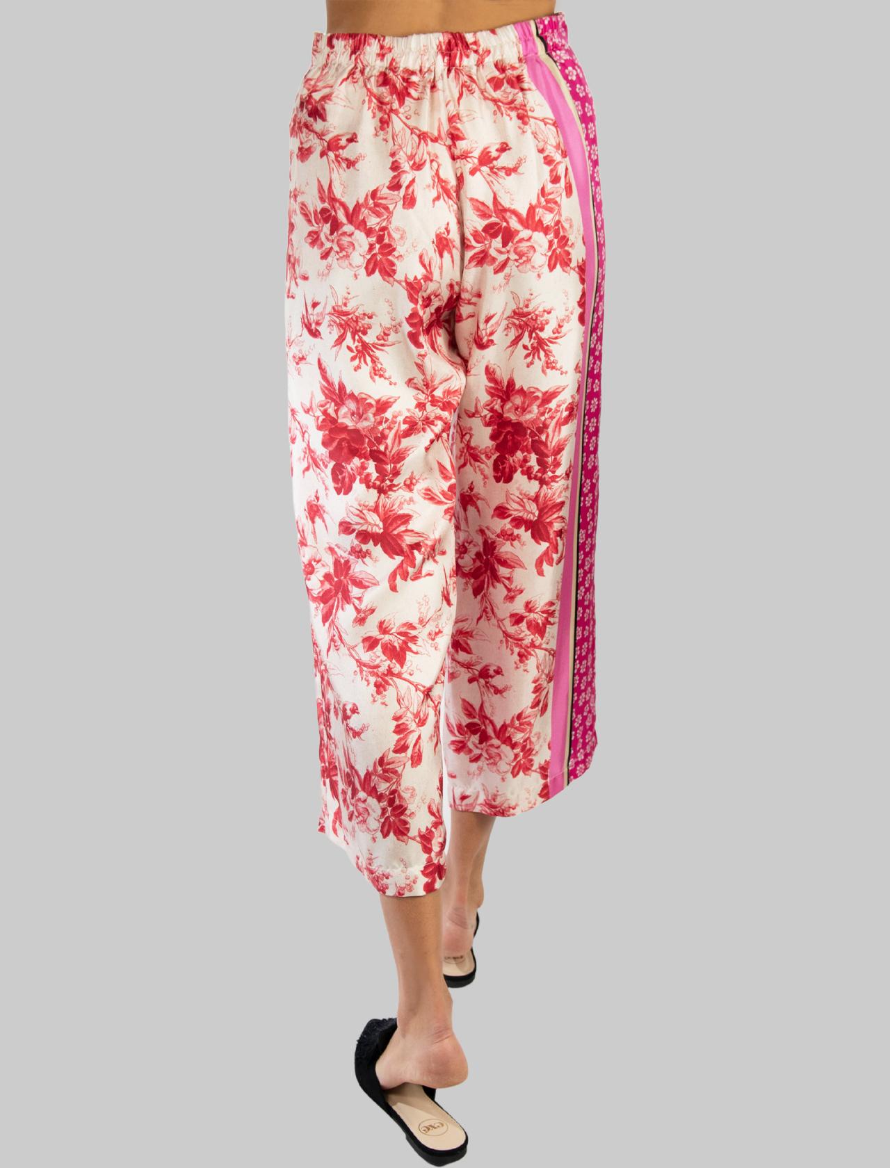 Abbigliamento Donna Pantalone Fantasia Collection Print in Pura Seta Rosa e Rosso Maliparmi | Gonne e Pantaloni | JH720030091B3242