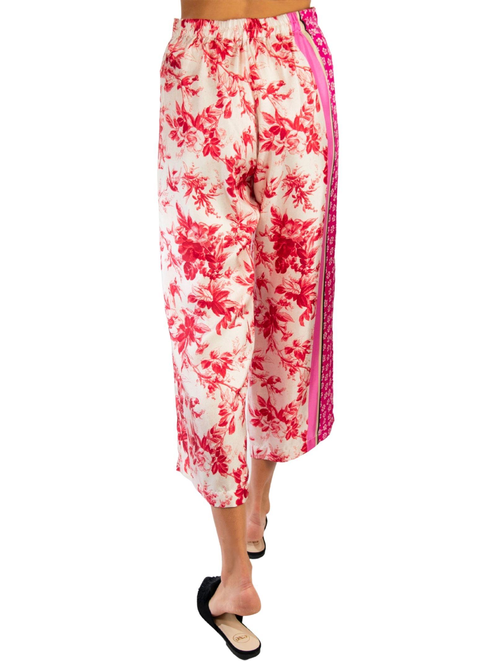 Abbigliamento Donna Pantalone Fantasia Collection Print in Pura Seta Rosa e Rosso Maliparmi   Gonne e Pantaloni   JH720030091B3242