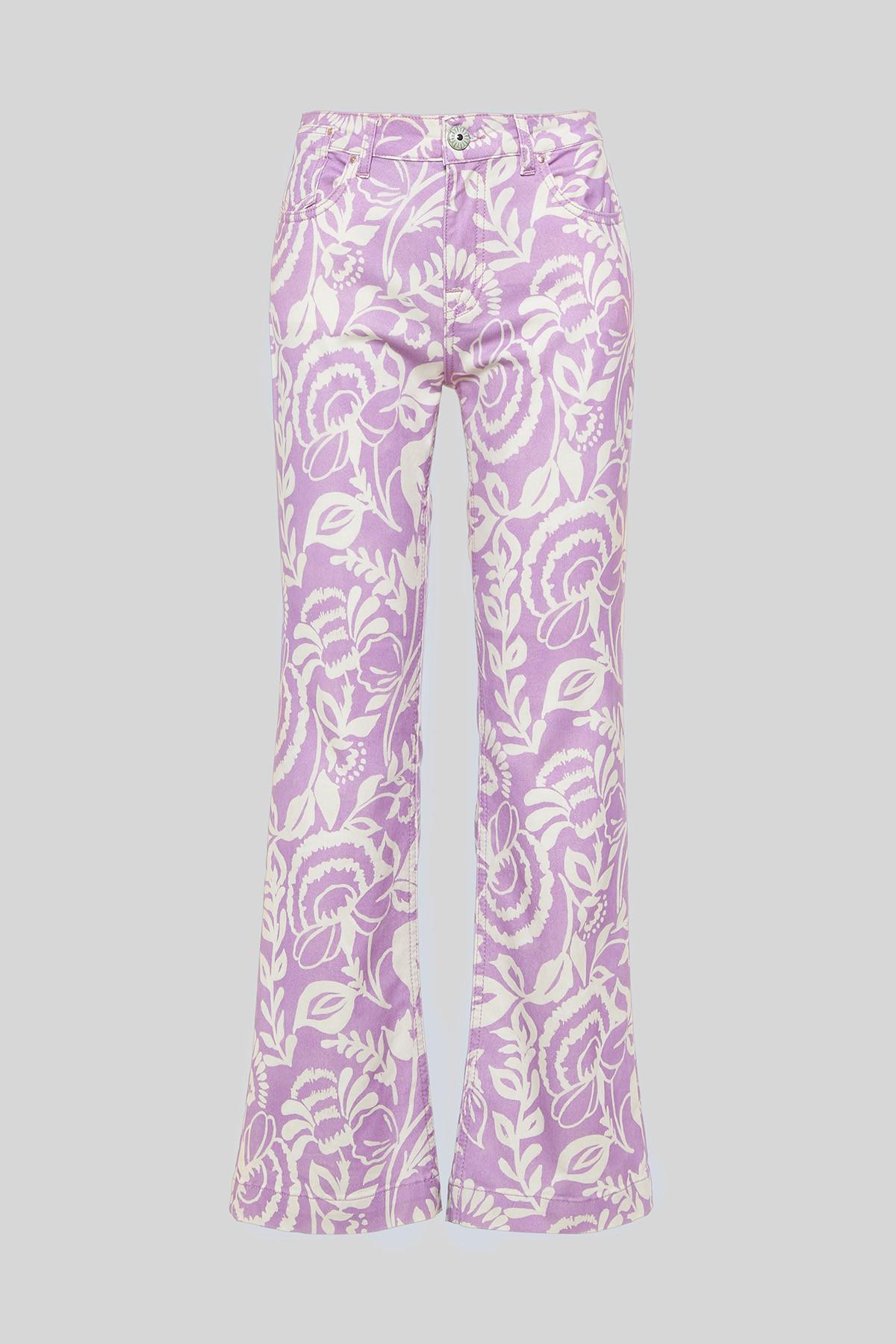 Abbigliamento Donna Pantalone Trombetta Soft Cotton misto Cachemire Print a Fantasia Rosa Maliparmi | Gonne e Pantaloni | JH720410129A5106