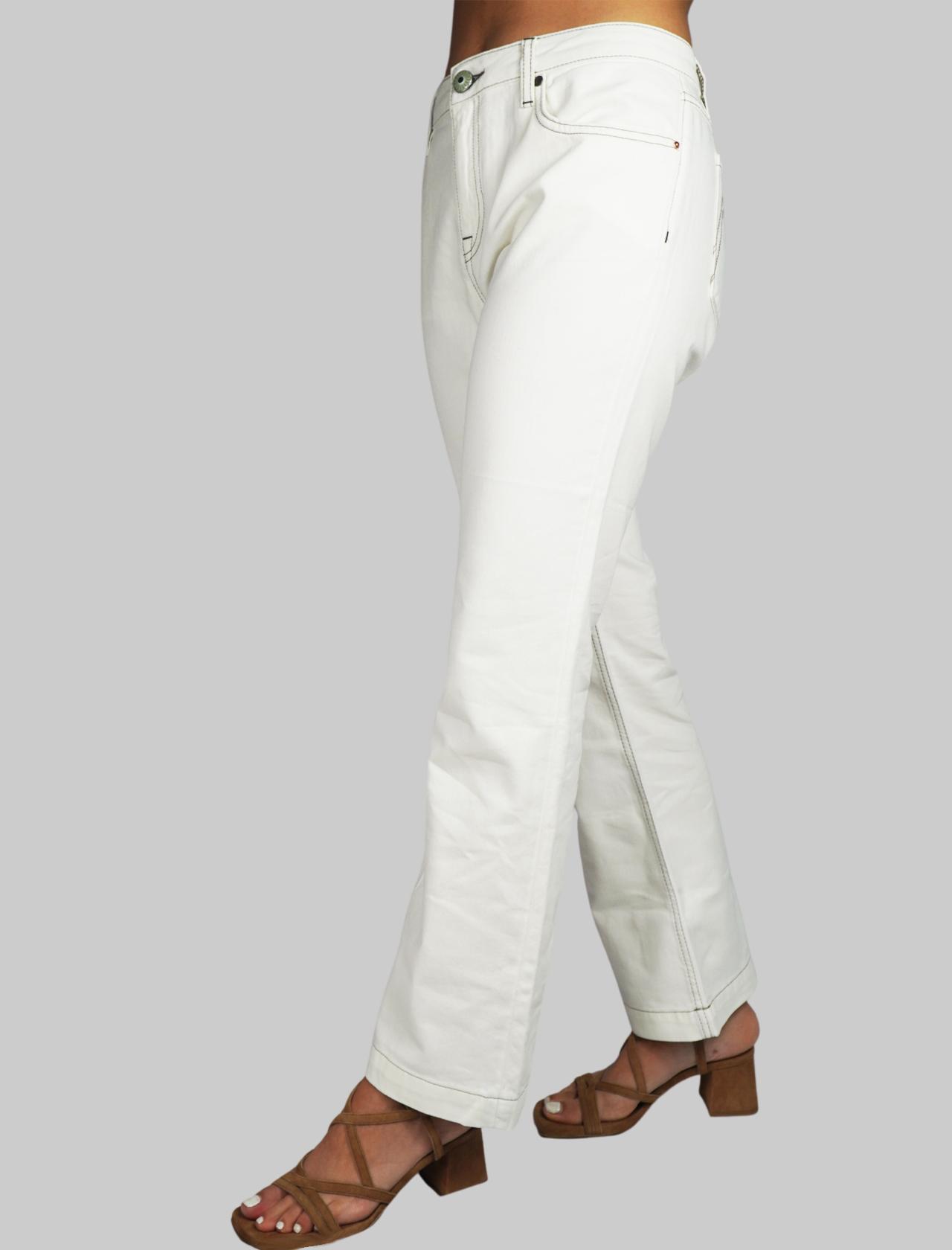 Abbigliamento Pantalone Donna Taglio Jeans a Trombetta in Gabardine Colore Bianco 5 Tasche Maliparmi | Gonne e Pantaloni | JH72041013310000