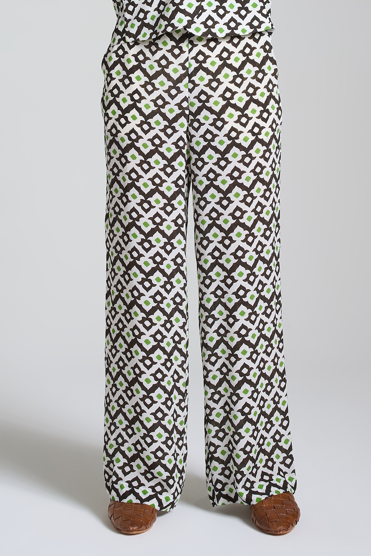 Women's Clothing Vis Ceres Diamond Trousers with Black and White Pattern Soft Leg Maliparmi | Skirts and Pants | JH738550552A1050