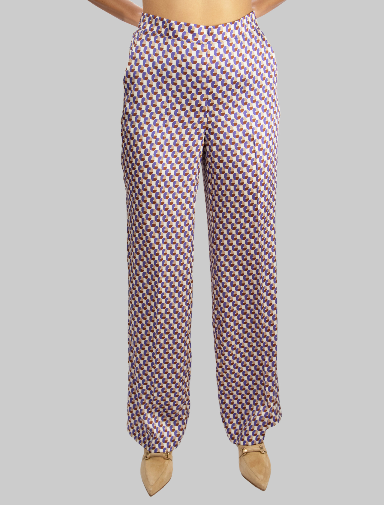 Women's Clothing Geometric Twill Straight Leg Trousers in Beige and Purple Maliparmi | Skirts and Pants | JH738560047B1236