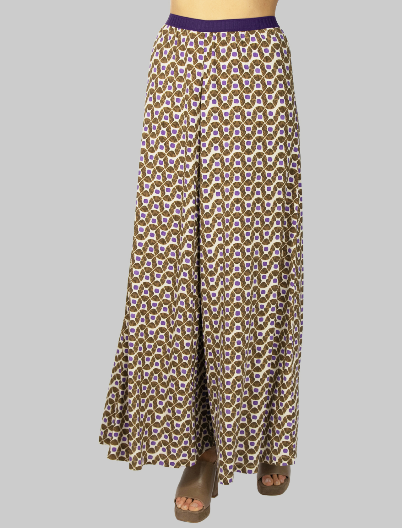 Women's Clothing Beige and Natural Patterned Happy Frame Jersey Trousers Maliparmi   Skirts and Pants   JH742270493B1104