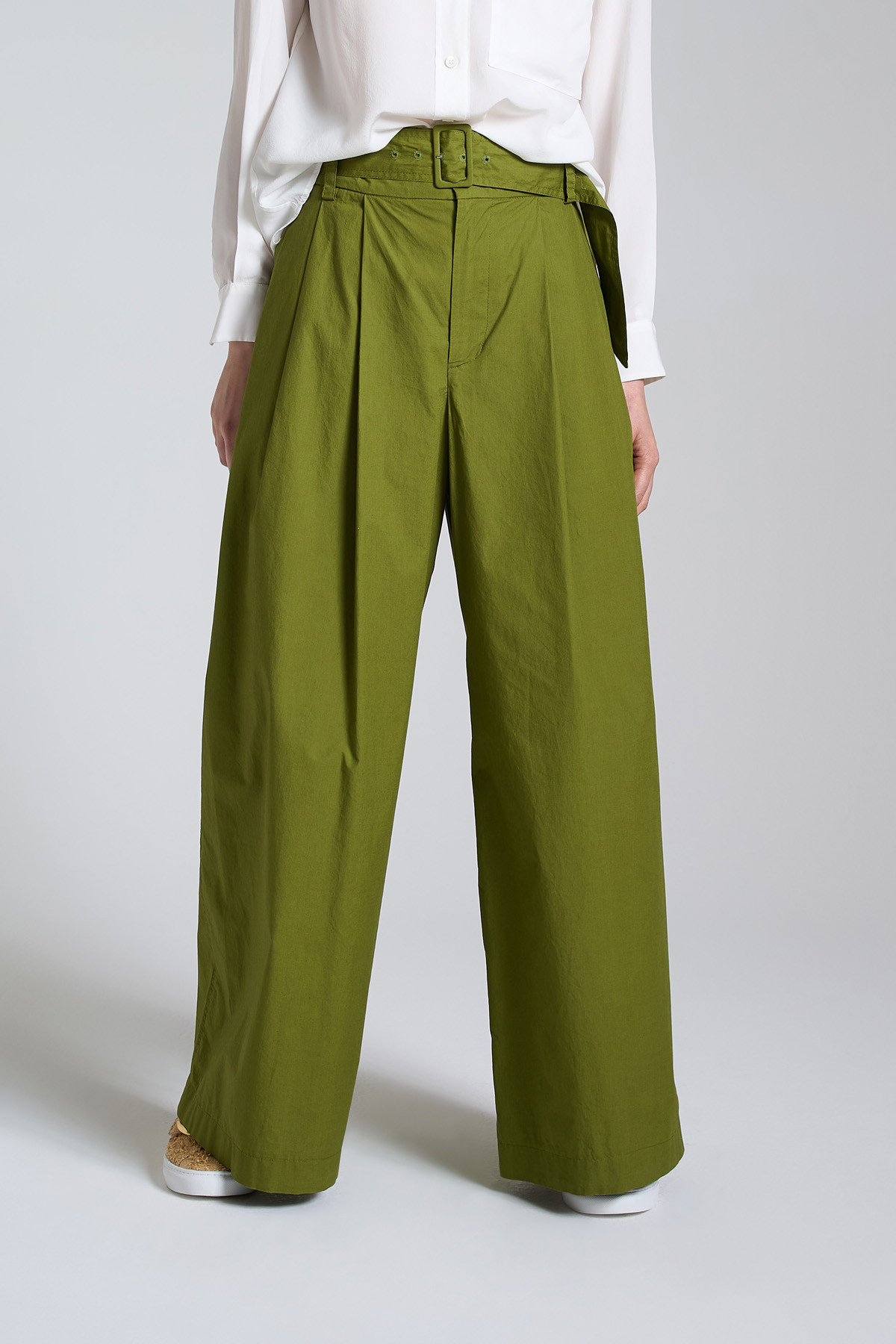 Women's Clothing Soft Popeline Pants with Wide Leg in Green Color Maliparmi | Skirts and Pants | JH74251014360024