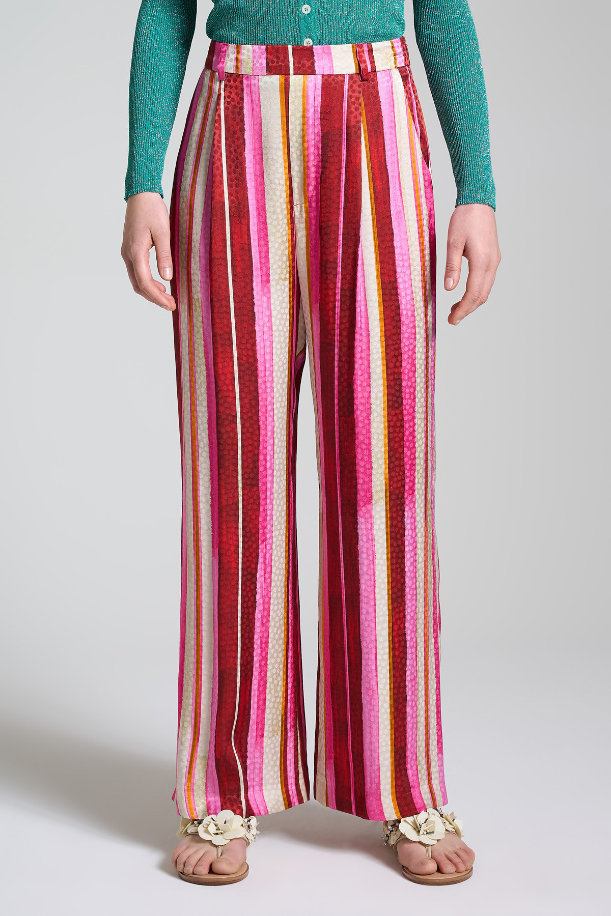 Women's Clothing Straight Leg Trousers Stripes Jacquard with Pink and Red Stripes Maliparmi | Skirts and Pants | JH743250557B3223