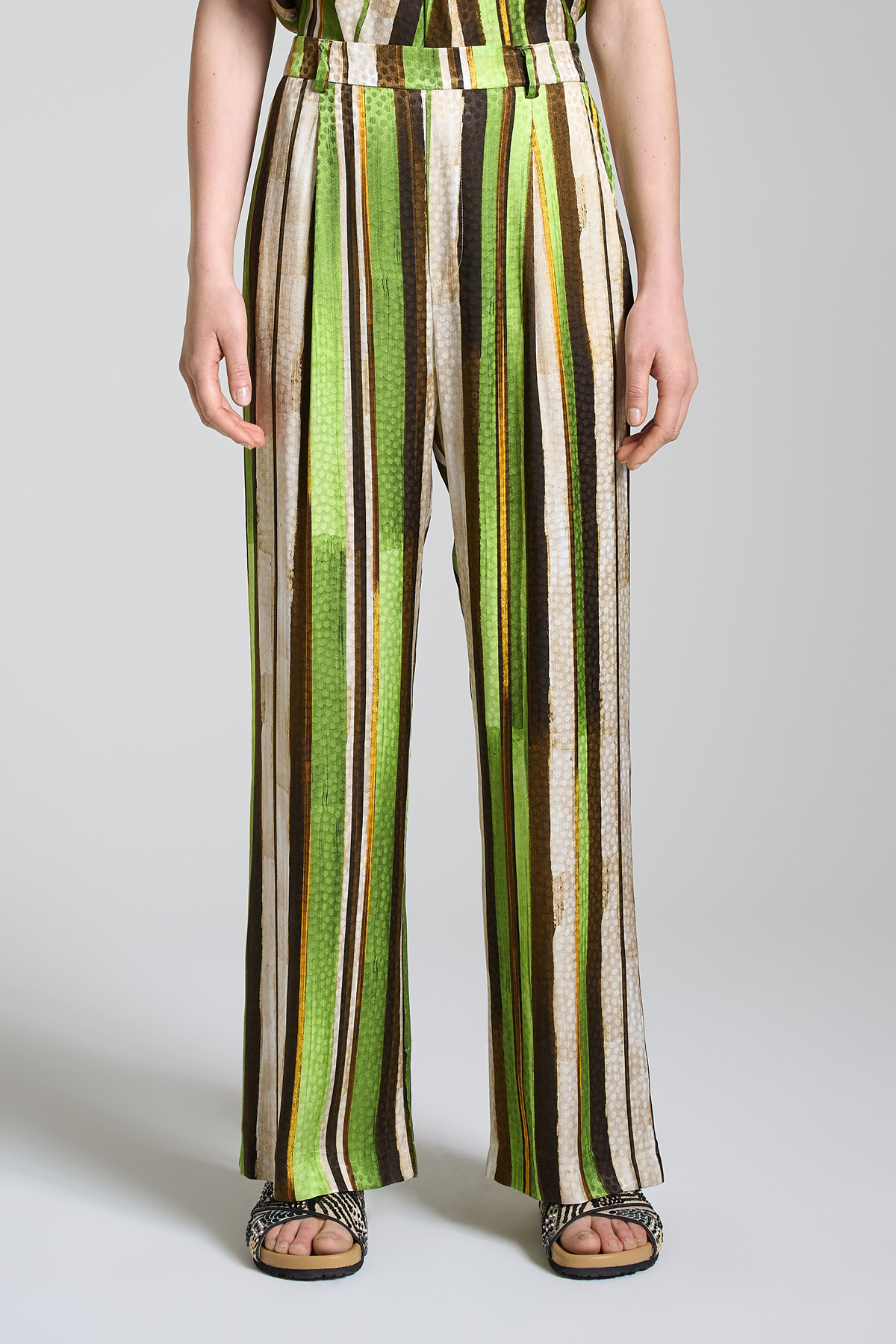Women's Clothing Straight Leg Trousers Stripes Jacquard with Green and Natural Stripes Maliparmi | Skirts and Pants | JH743250557C6022