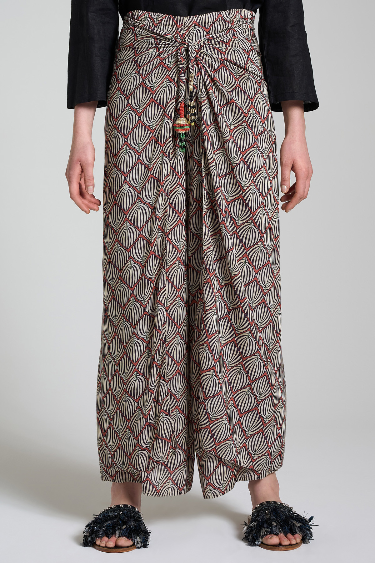 Women's Clothing Geometric Palms Pants with Wide Leg in Cream and Brown Fantasy Maliparmi | Skirts and Pants | JH744950551B1226