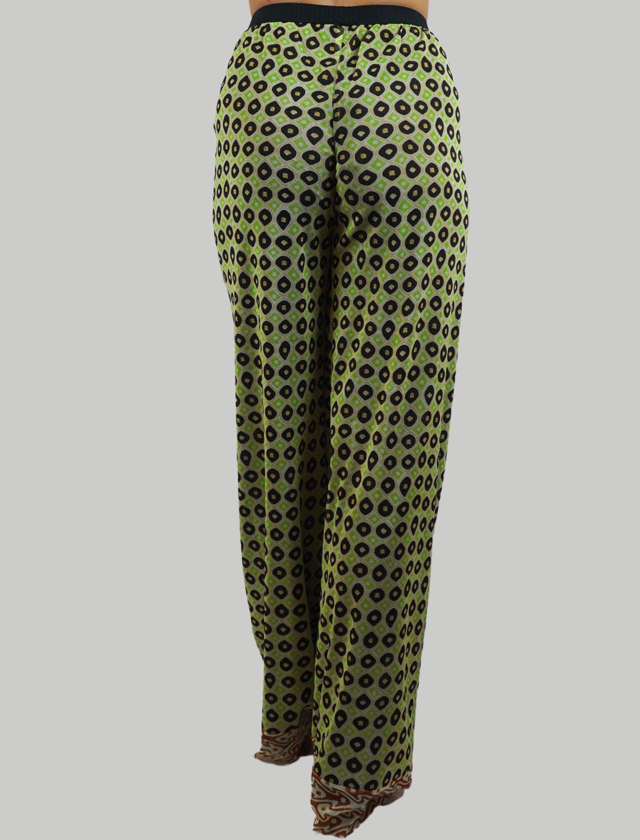 Abbigliamento Donna Pantalone Tribal Dance in Tulle Elasticizzato Stampato Verde e Oro Maliparmi | Gonne e Pantaloni | JH745770494C6020