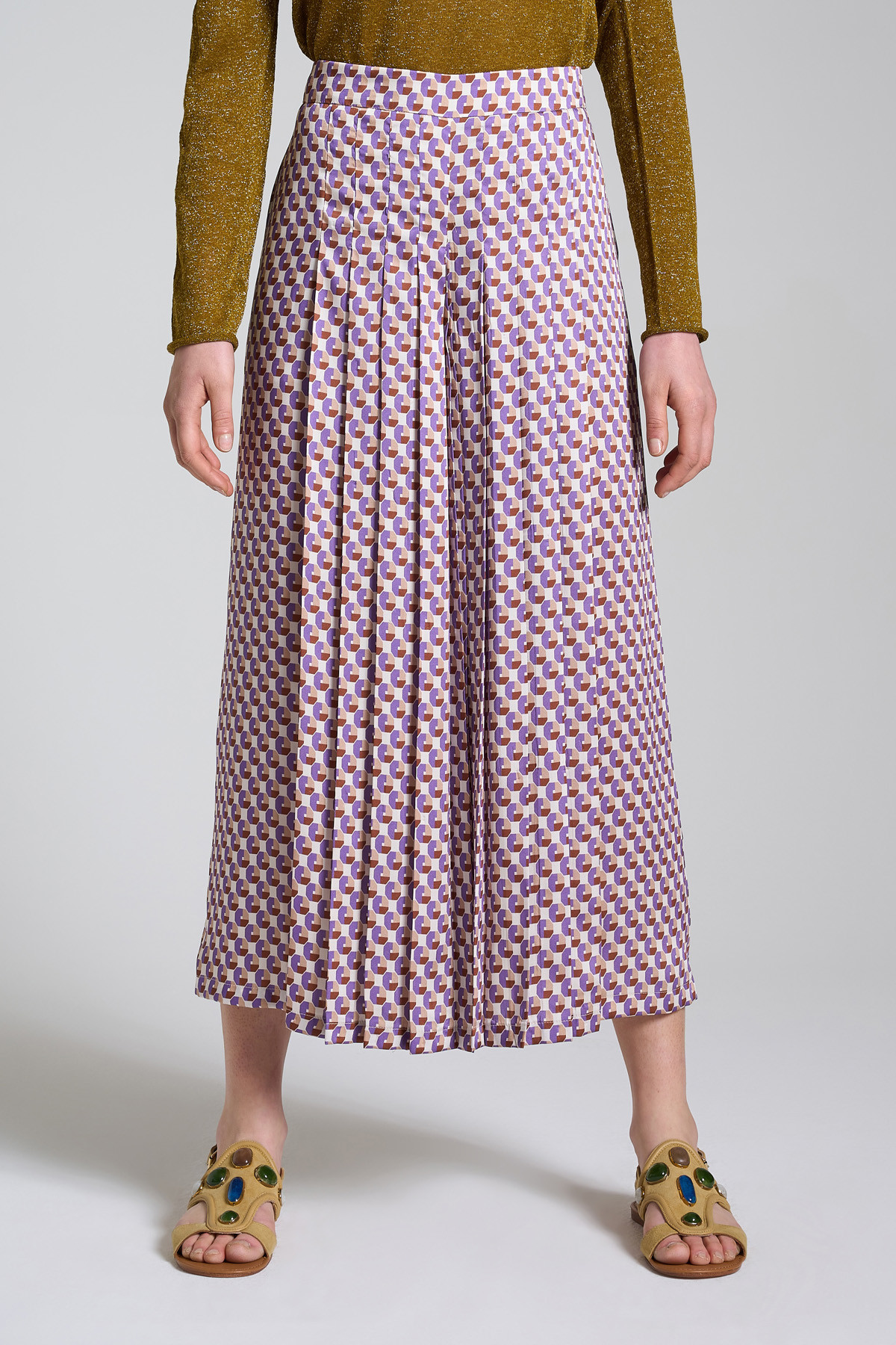 Women's Clothing Beige and Purple Patterned Geometric Twill Pants with Wide Leg Maliparmi | Skirts and Pants | JH745860047B1236