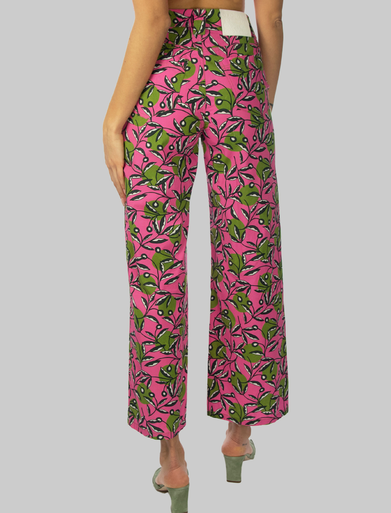 Women's Clothing Poplin Dotty Ramage Pants in Pink and Green Cotton Maliparmi | Skirts and Pants | JH746110138B3222
