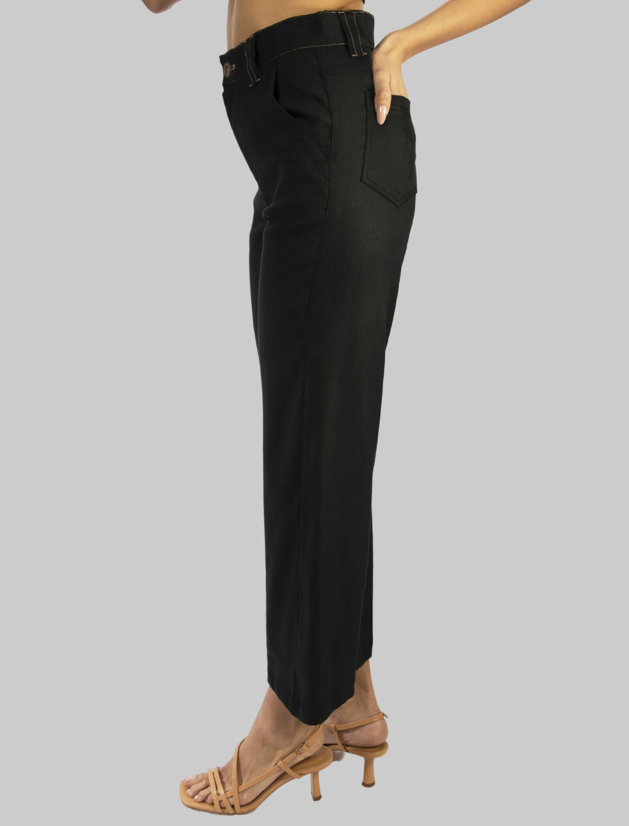Abbigliamento Donna Pantalone Diagonal Linen Taglio Jeans Tasche Americane in Lino Nero Maliparmi | Gonne e Pantaloni | JH74614007820000