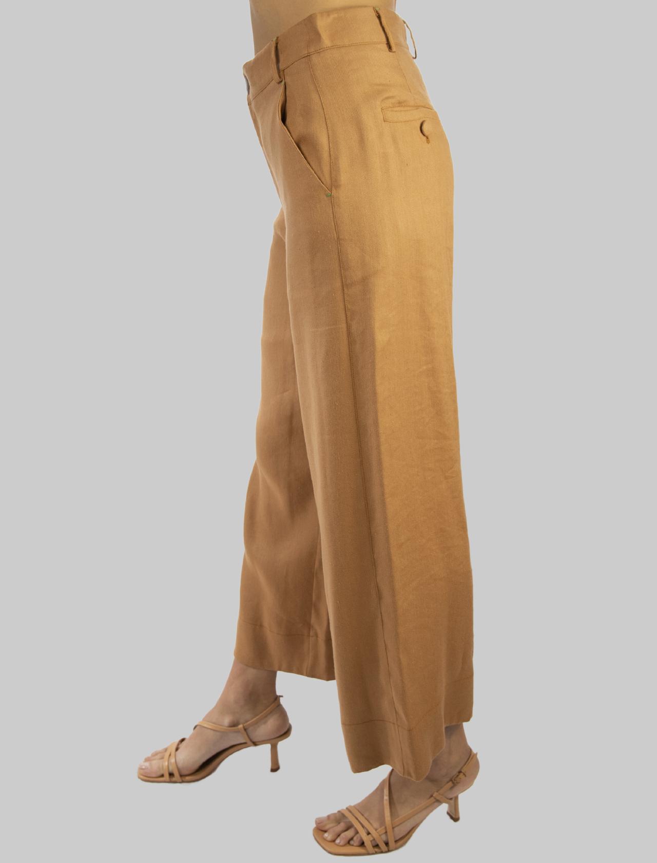 Abbigliamento Donna Pantalone Diagonal Linen con Gamba Ampia in Lino Ocra Maliparmi | Gonne e Pantaloni | JH74664007812021