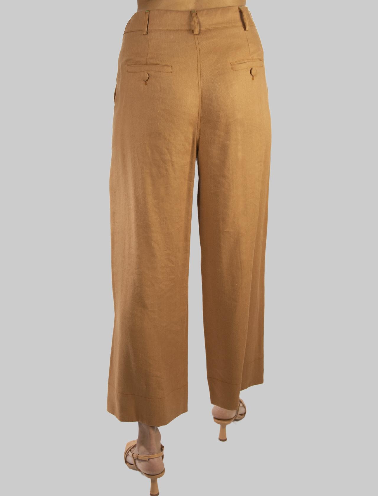 Abbigliamento Donna Pantalone Diagonal Linen con Gamba Ampia in Lino Ocra Maliparmi   Gonne e Pantaloni   JH74664007812021