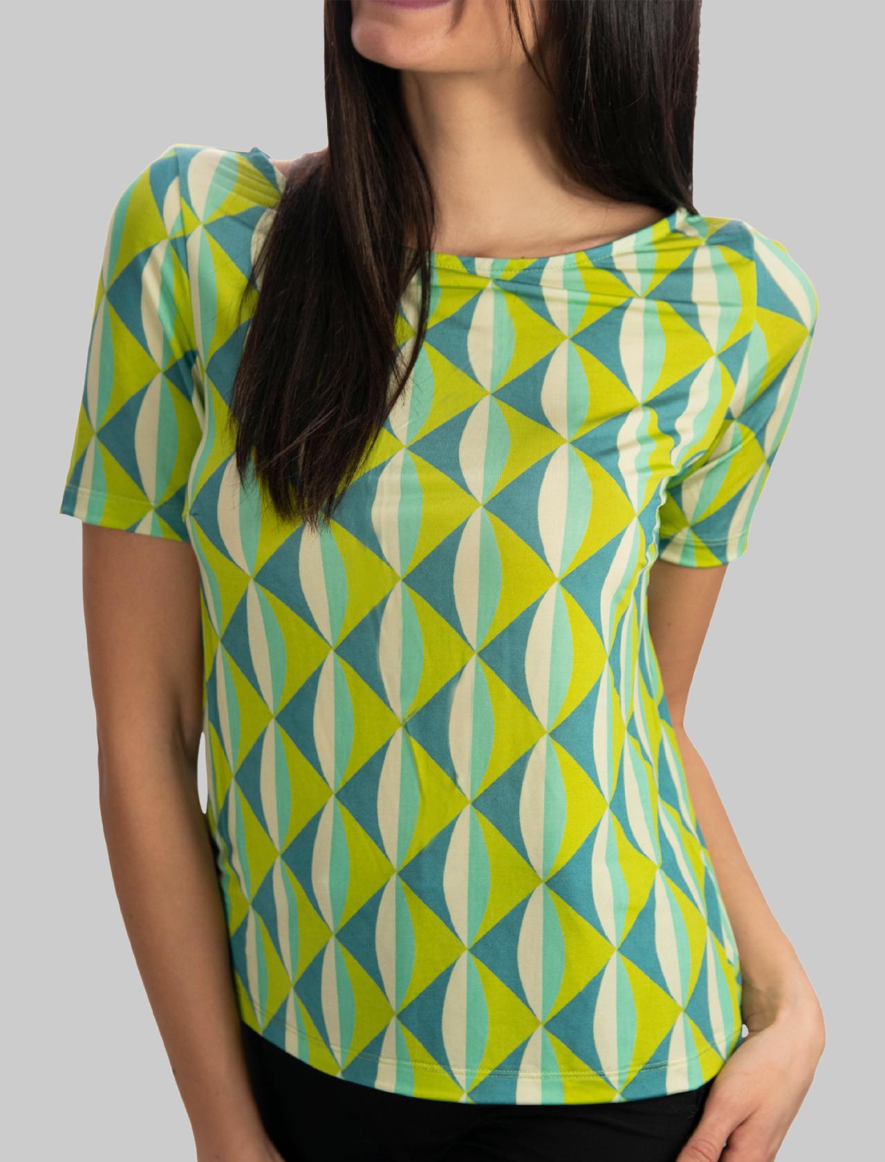 Women's Clothing Jersey T-shirt Symmetria Boat Neckline Aqua Green Fantasy Maliparmi | T-shirts and Tops | JK018370496A8208