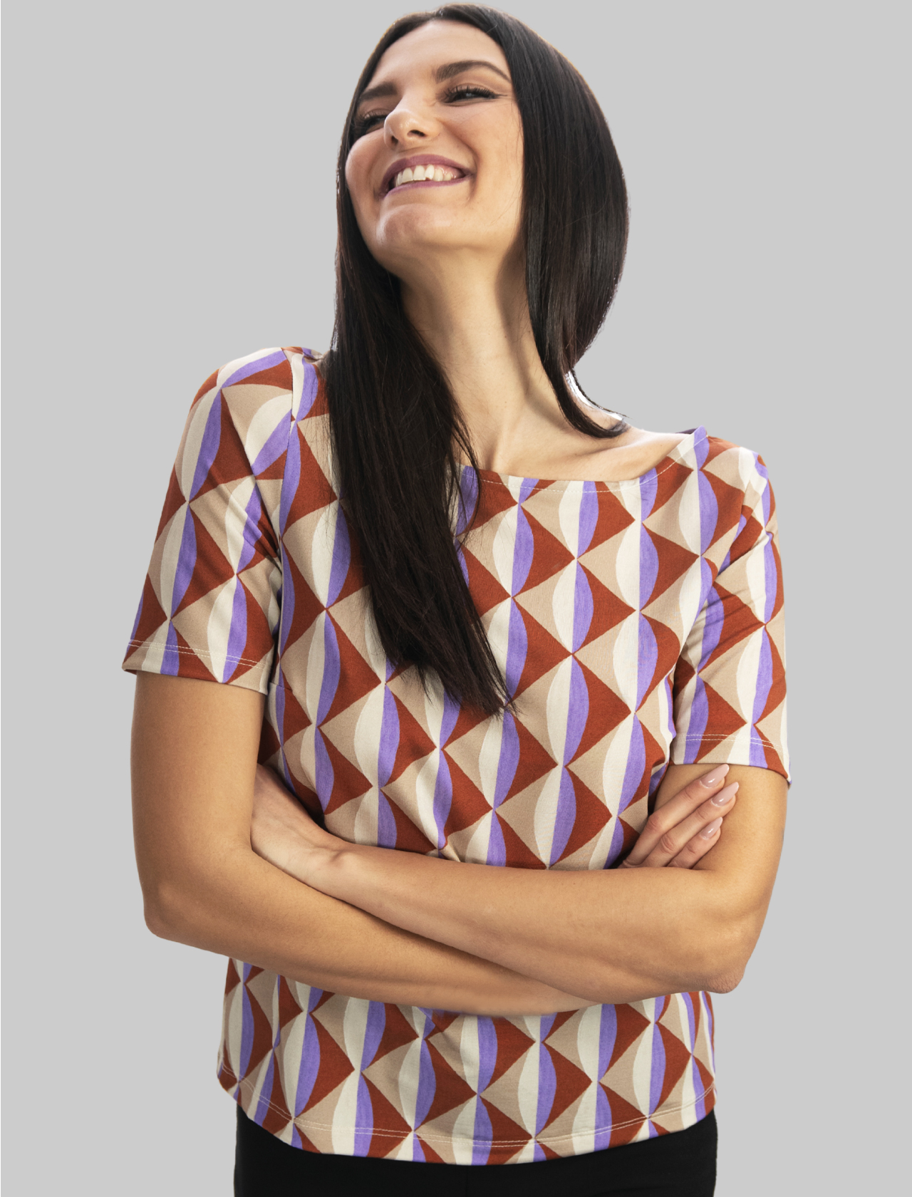 Women's Clothing T-shirt Jersey Symmetria Natural Boat Neck and Fantasy Mauve Maliparmi | T-shirts and Tops | JK018370496B1106
