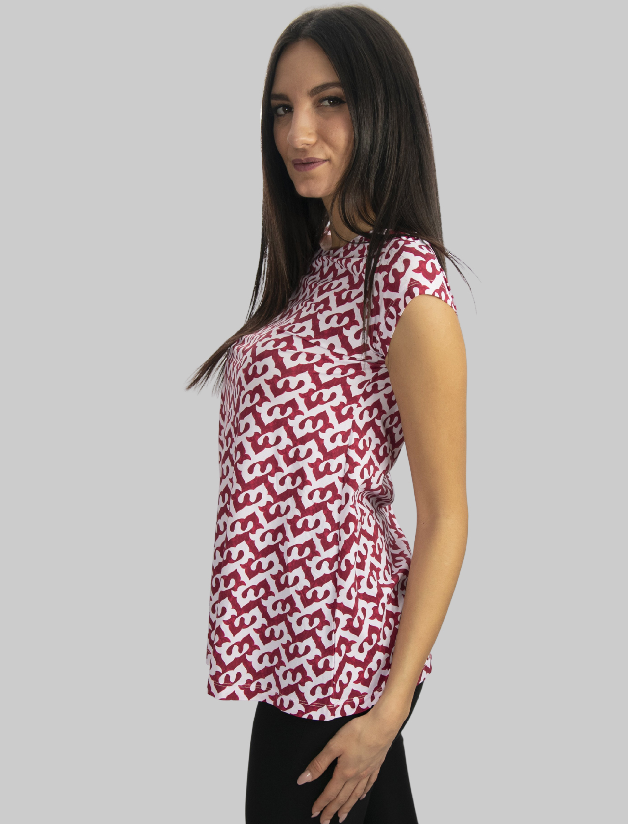 Women's Clothing Ceres Drop Jersey T-shirt with Red and Pink Boat Neck Maliparmi |  | JK020270498A3092