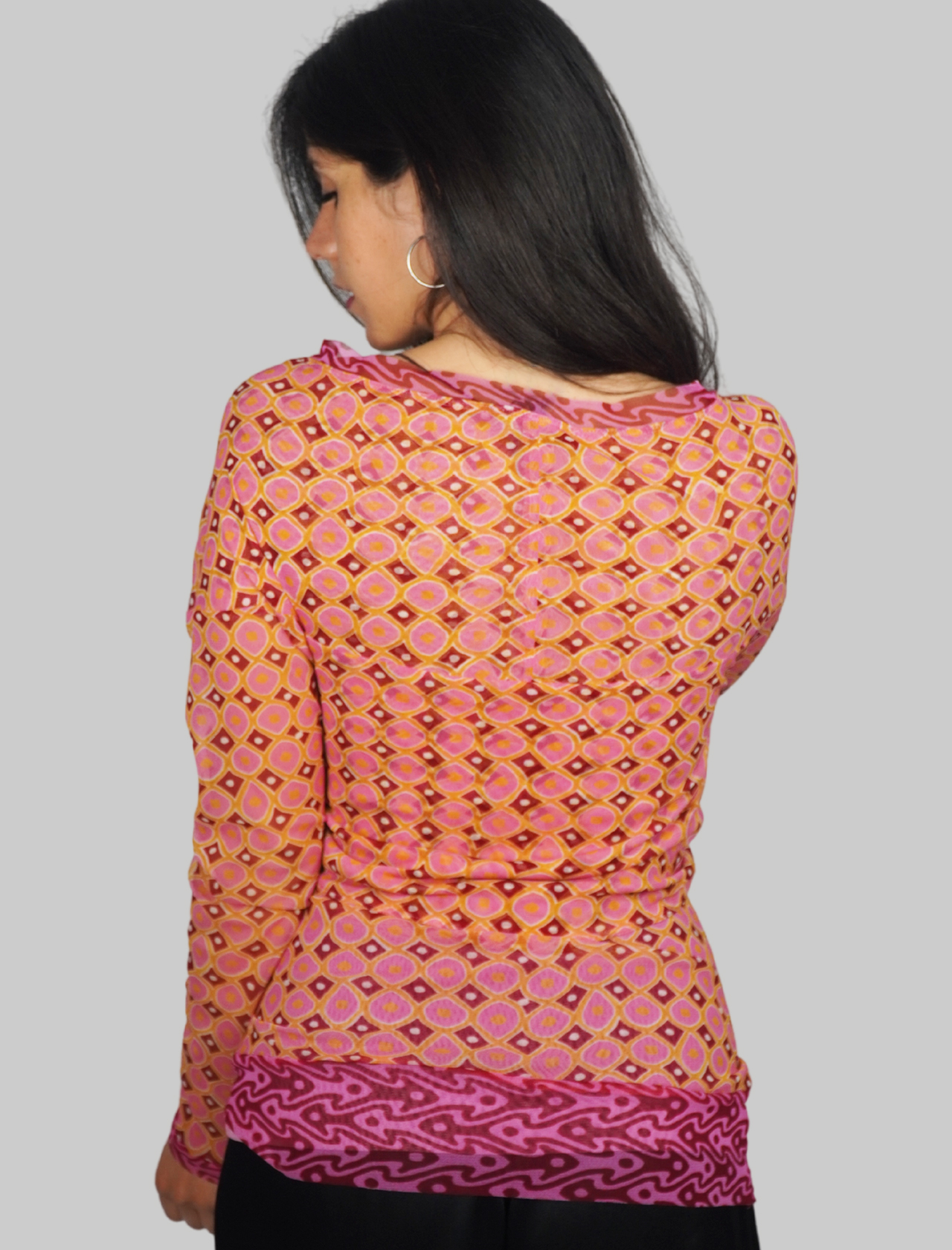 Women's Clothing Long Sleeve Tribal Dance T-shirt in Pink and Gold Patterned Tulle Maliparmi | T-shirts and Tops | JK020470494B3221