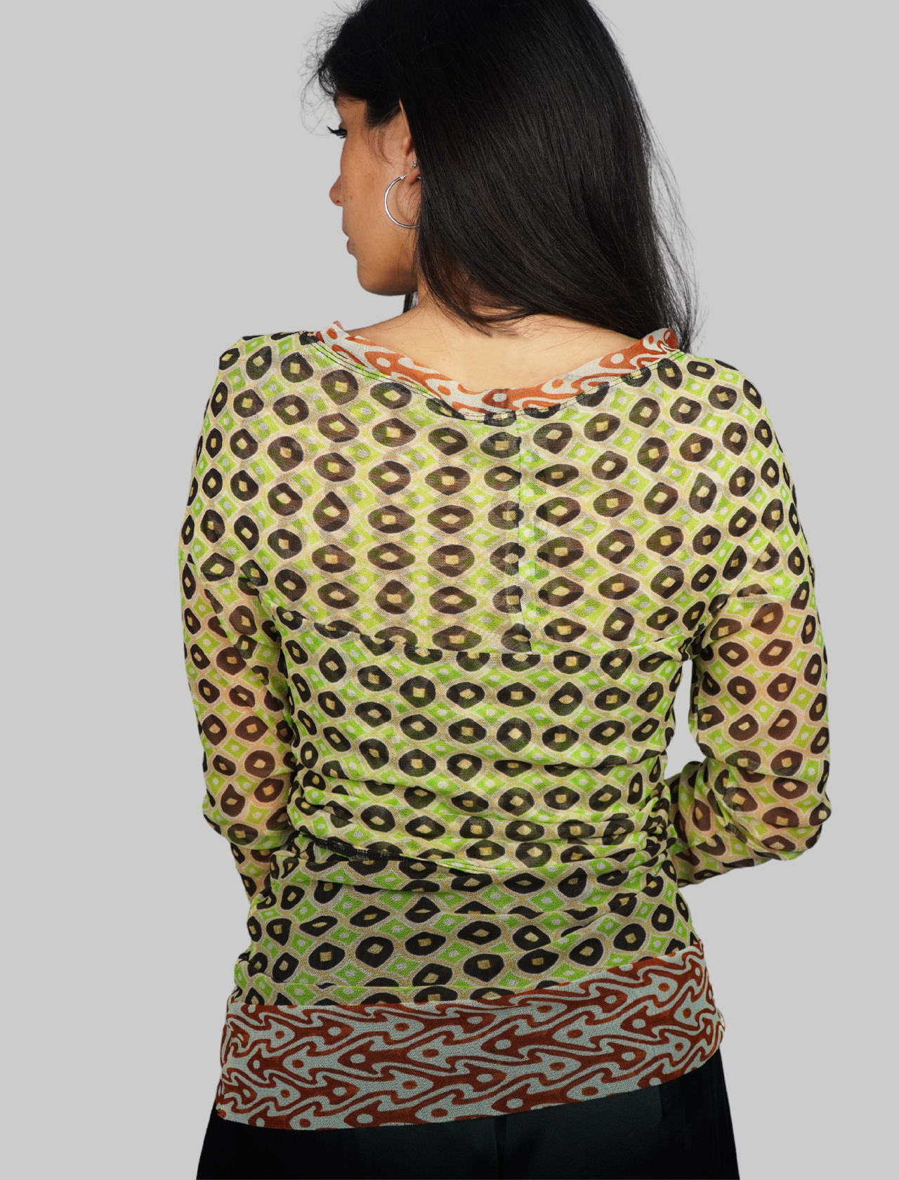Women's Clothing Long Sleeve Tribal Dance T-shirt in Green and Gold Patterned Tulle Maliparmi | T-shirts and Tops | JK020470494C6020