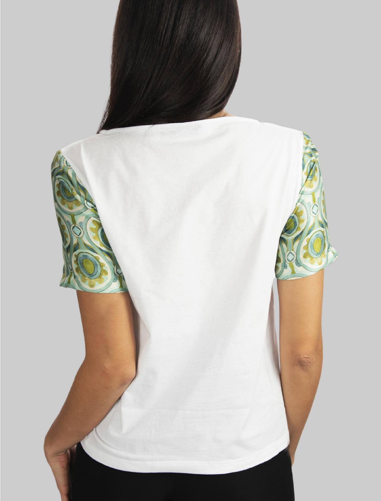 Abbigliamento Donna T-shirt Patch in Puro Cotone Bianco e Mezza Manica a Fantasia Maliparmi | T-shirt e Canotte | JK02057049510000