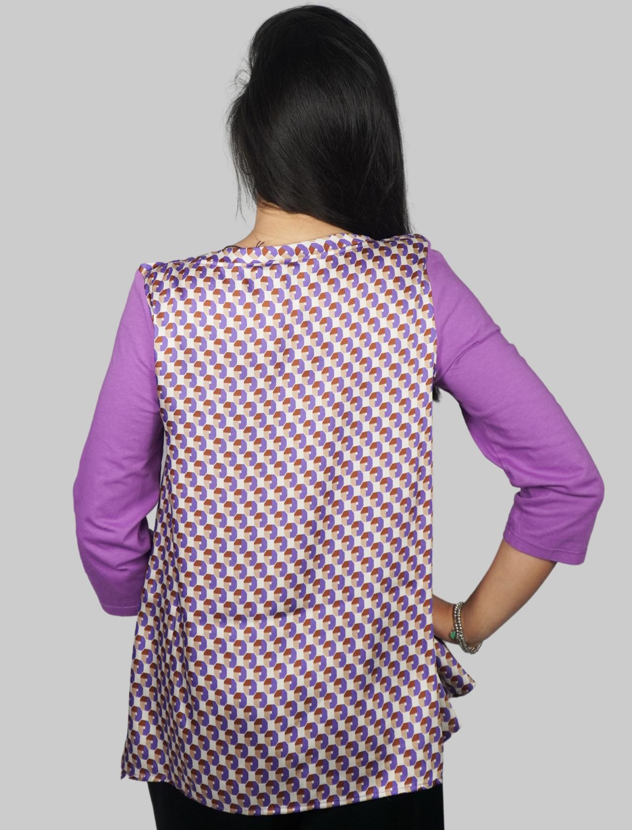 Abbigliamento Donna T-shirt Jersey Patch in Cotone Glicine con Maniche in Twill Stampato Verde a Fantasia Maliparmi   T-shirt e Canotte   JK02067049551036
