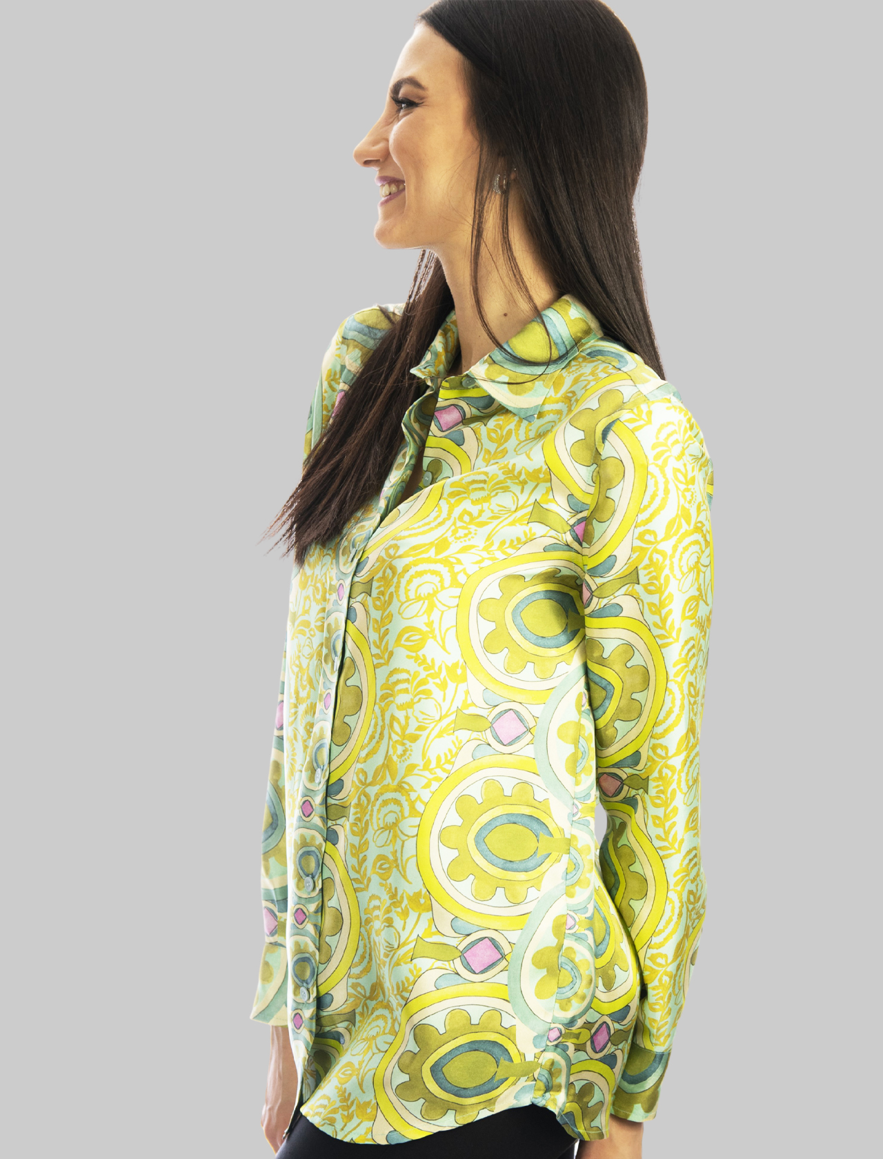 Women's Clothing Collection Print Shirt in Pure Green Printed Silk Maliparmi | Shirts and tops | JM214430091C6032