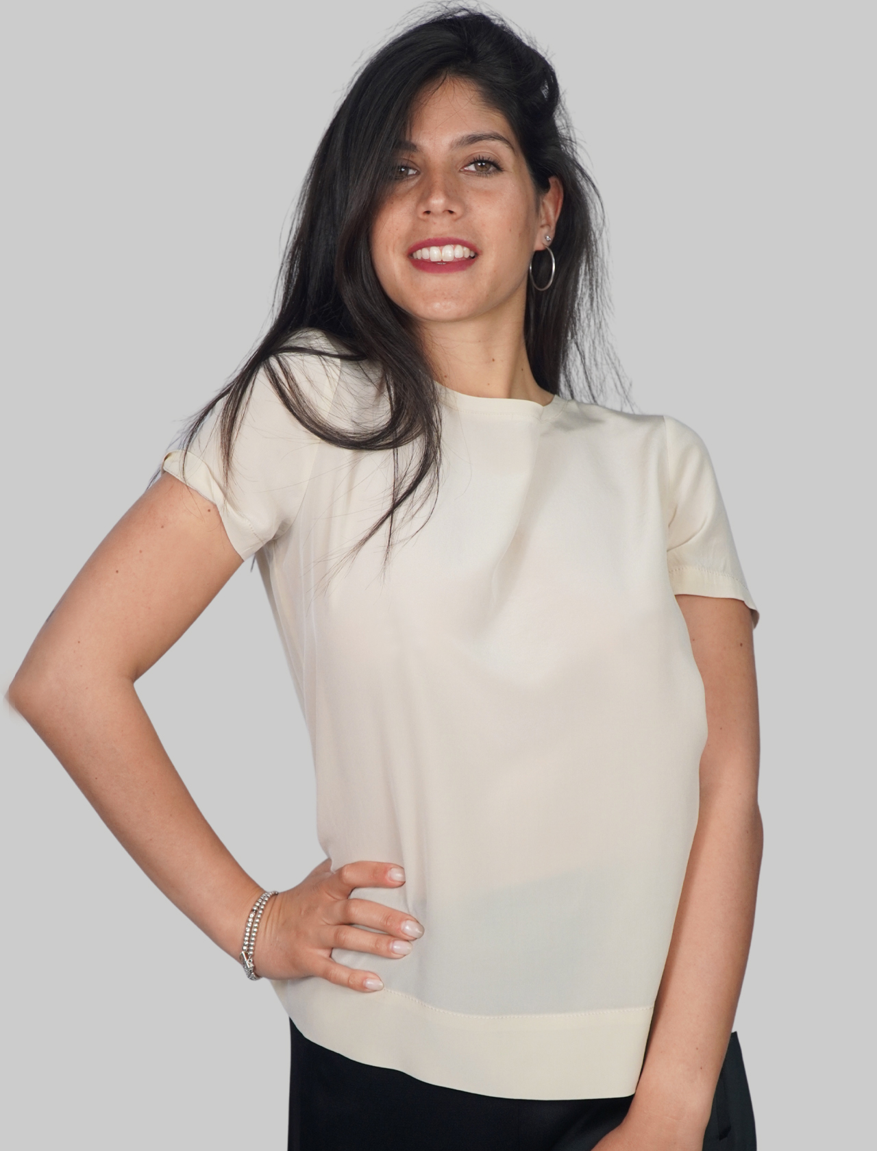 Women's Clothing T-shirt Crepe de Chine Blouse in Pure Silk Half Sleeve Sand Maliparmi | Shirts and tops | JM42123004411001