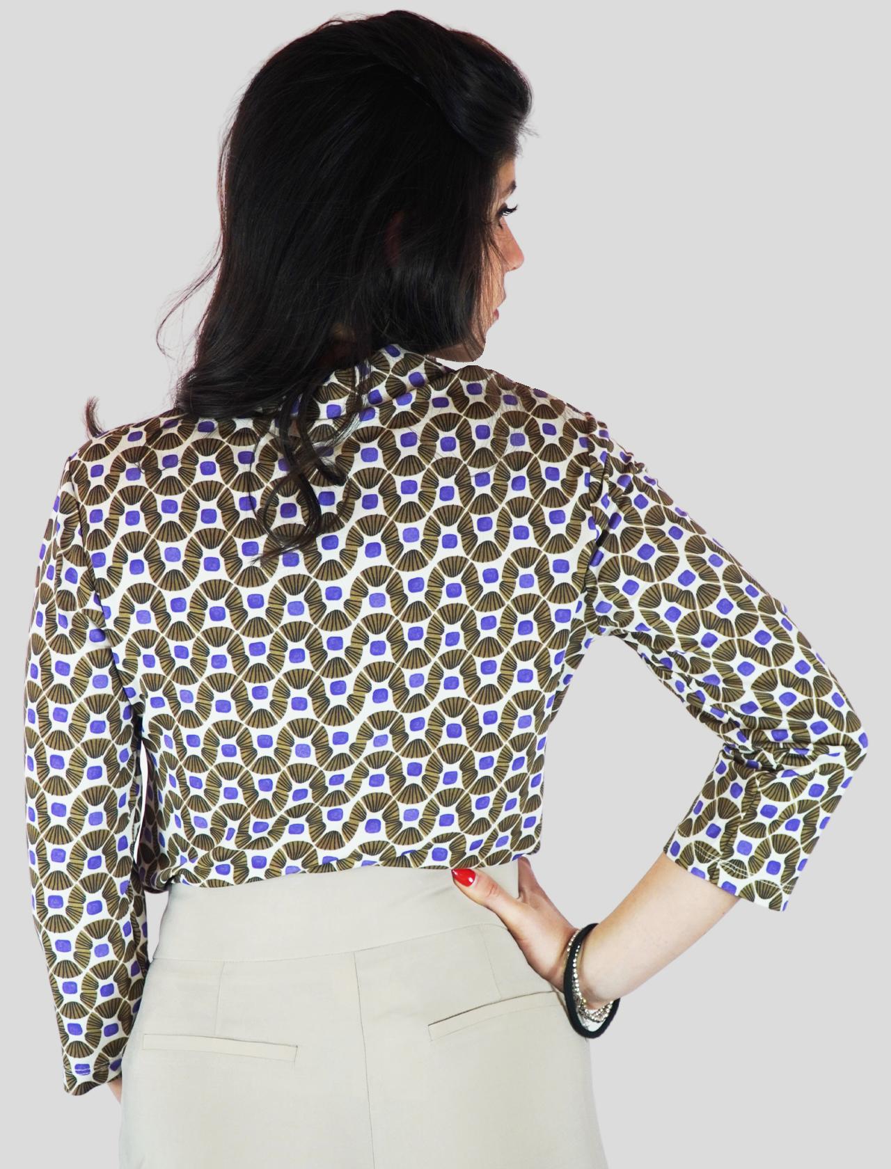 Abbigliamento Donna Camicia in Jersey Happy Frame Manica Lunga a Fantasia Beige e Malva Maliparmi | Camicie e Top | JM440770493B1104
