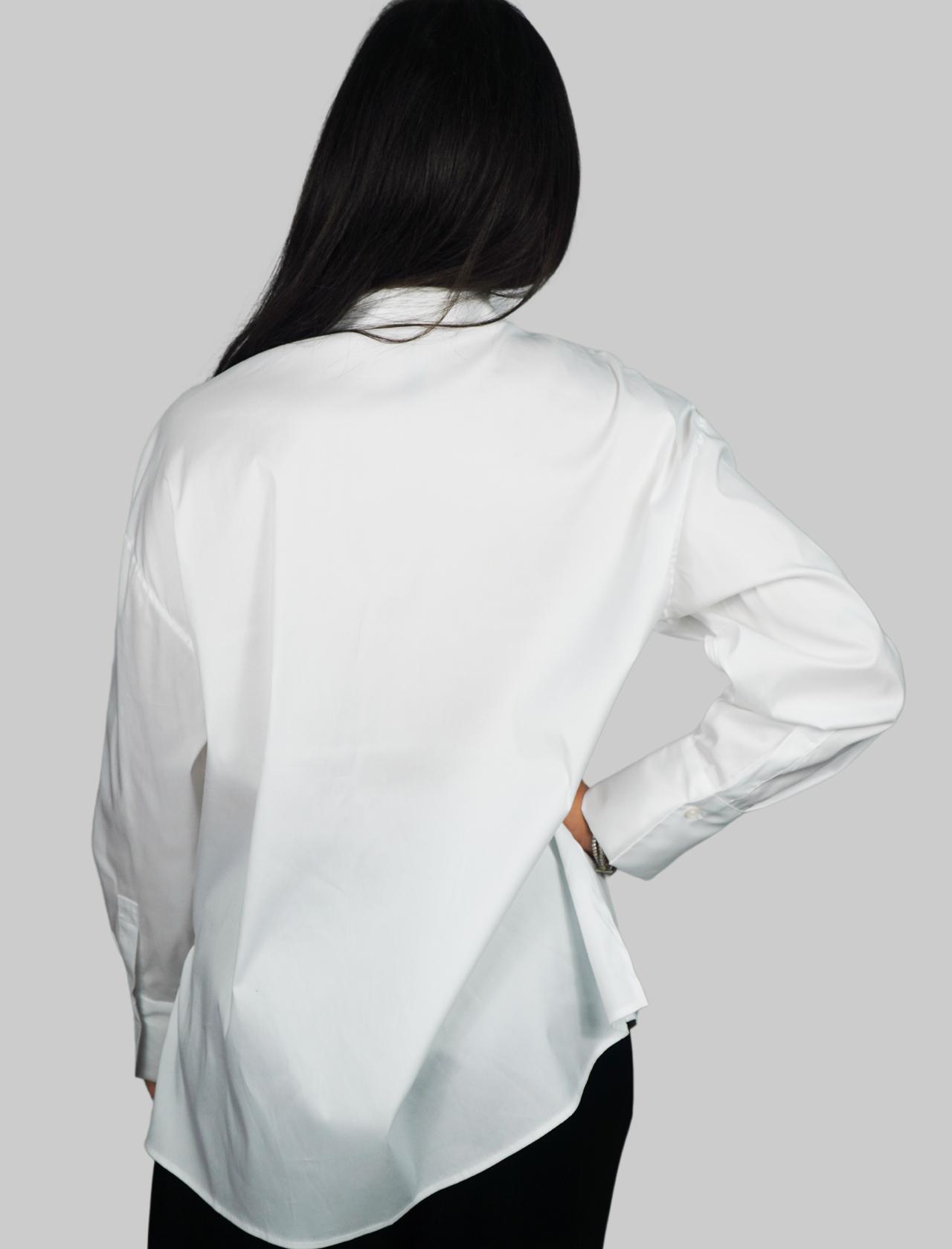 Abbigliamento Donna Camicia in Cotone Bianco Popeline manica Lunga con Bottone Gioiello Maliparmi   Camicie e Top   JM44681010310000